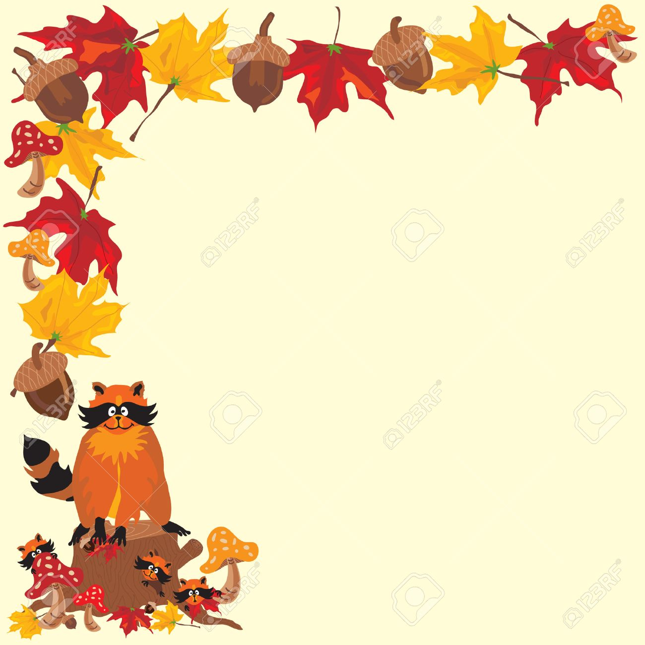 Fall Raccoon Boarder With Fall Leaves, Acorns And Toadstools ...
