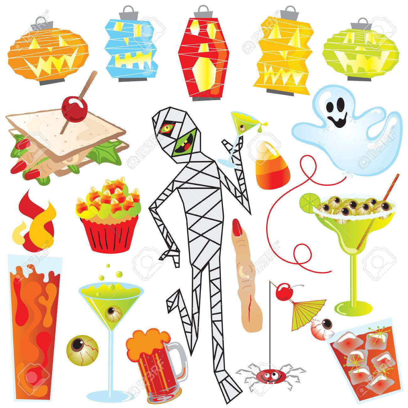 Halloween Party Clip Art With Finger Sandwich And Creepy Cocktails ...
