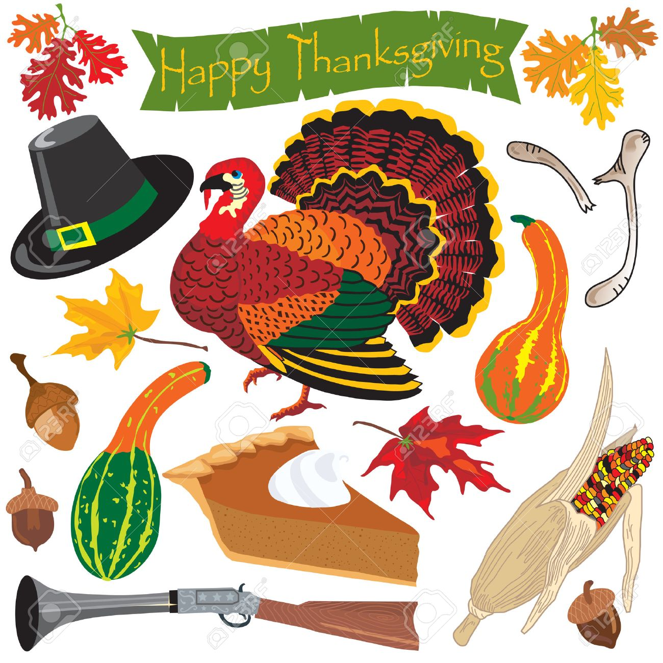 Thanksgiving clipart icons and elements for autumn Stock Vector - 5706360