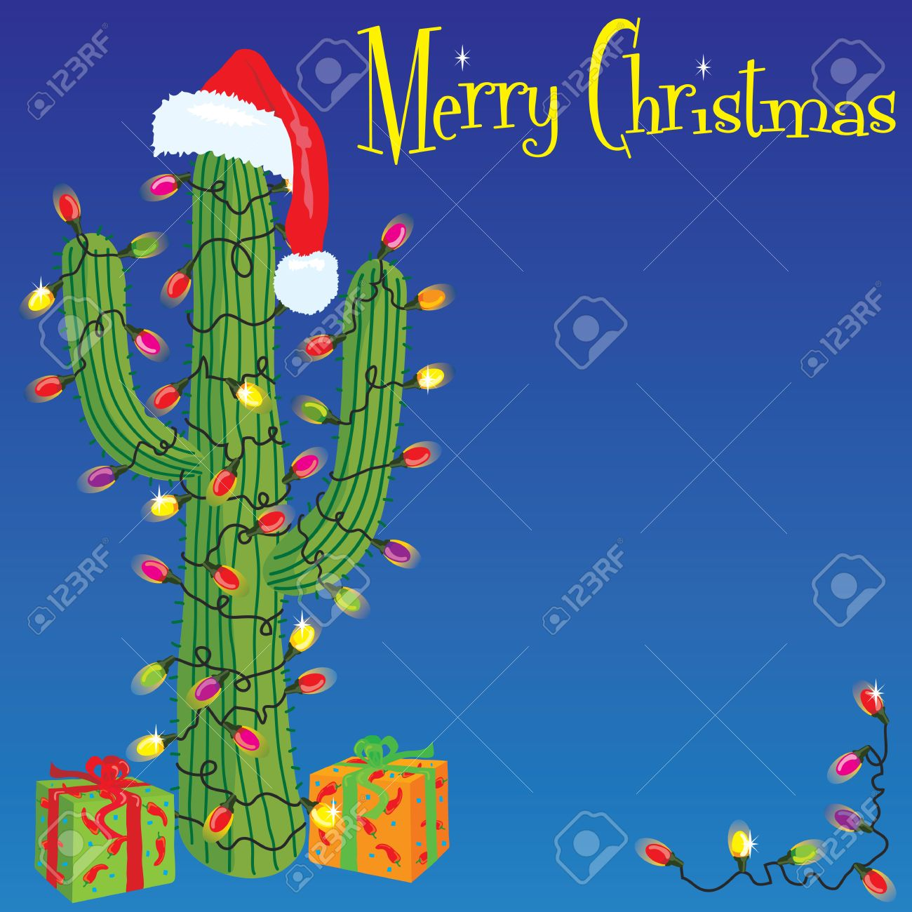 Cactus Wrapped With Christmas Lights Royalty Free Cliparts ...