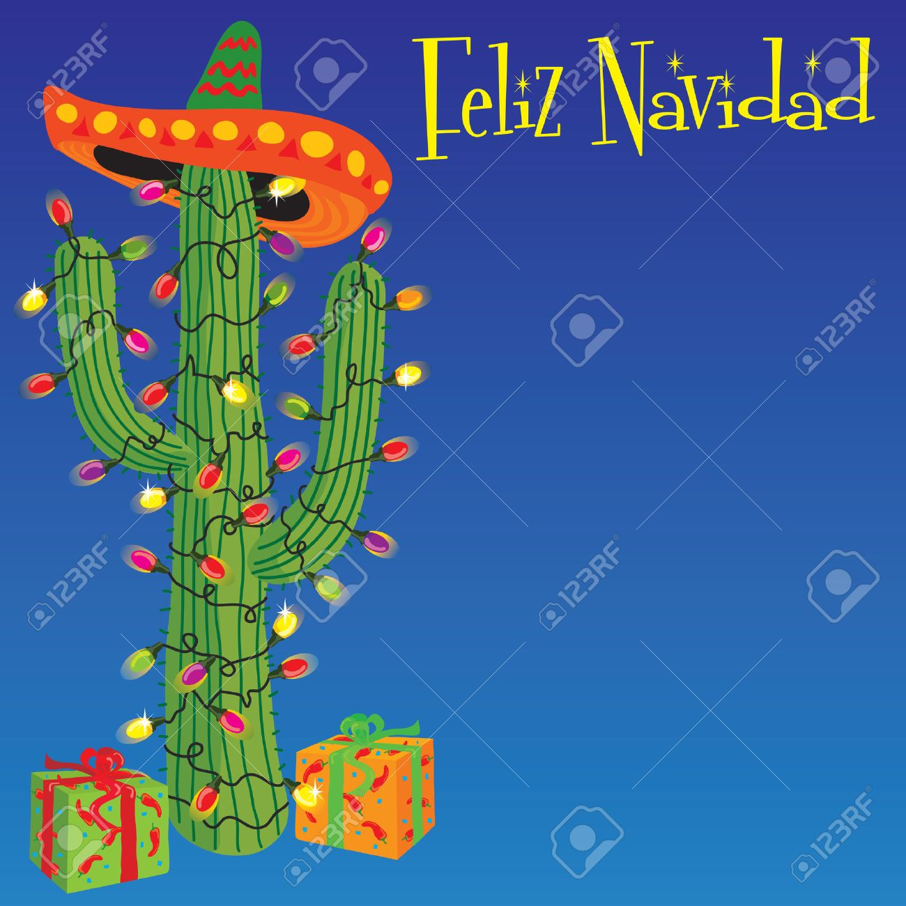 Cactus Wrapped With Christmas Lights With Gifts And Sombrero ...