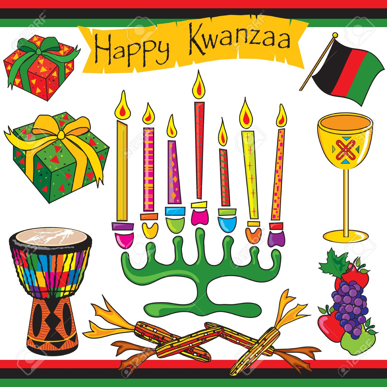 Kwanzaa Clipart Elements And Icons Royalty Free Cliparts, Vectors ...