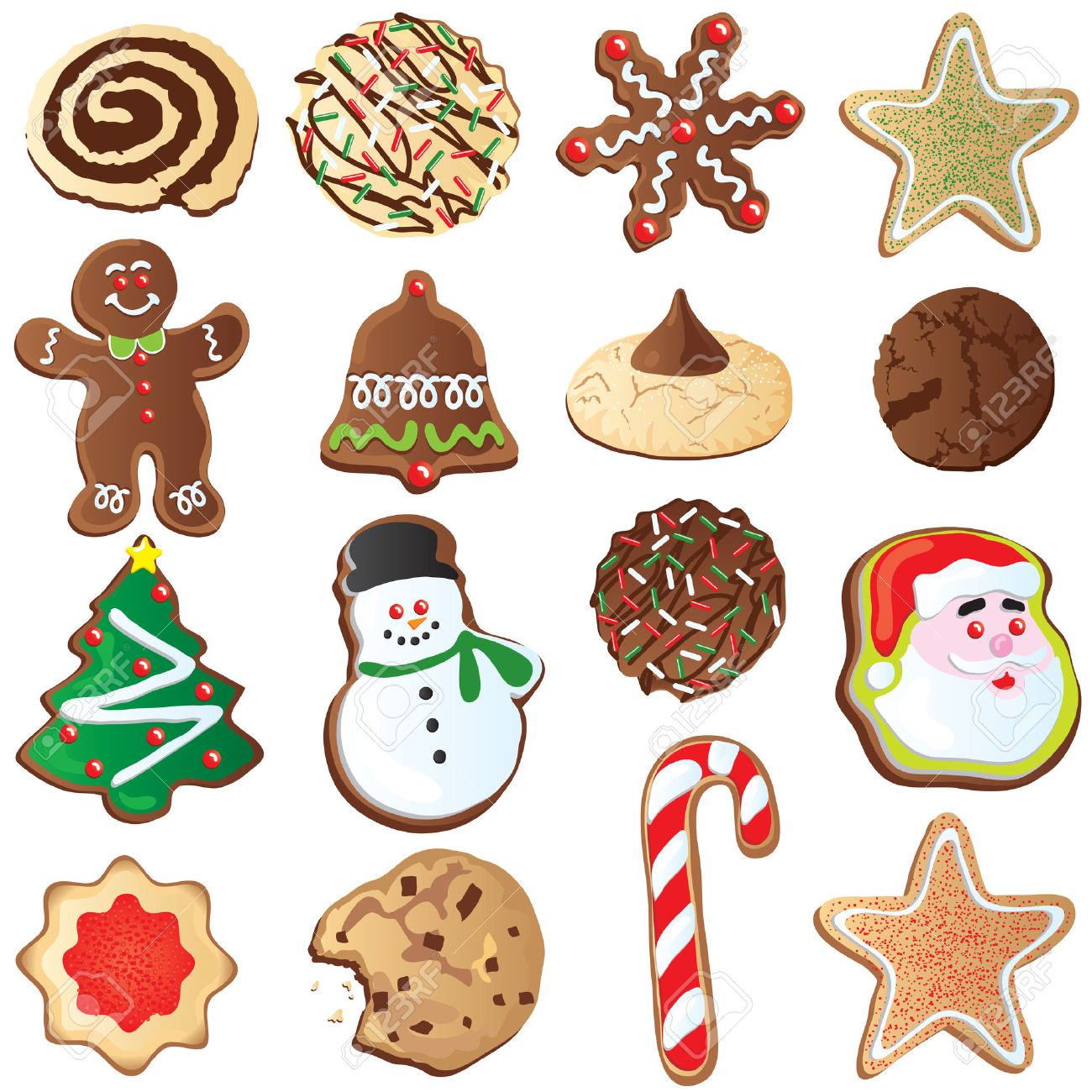 Big Set Of Cute Christmas Cookies Isolated On White Royalty Free ...