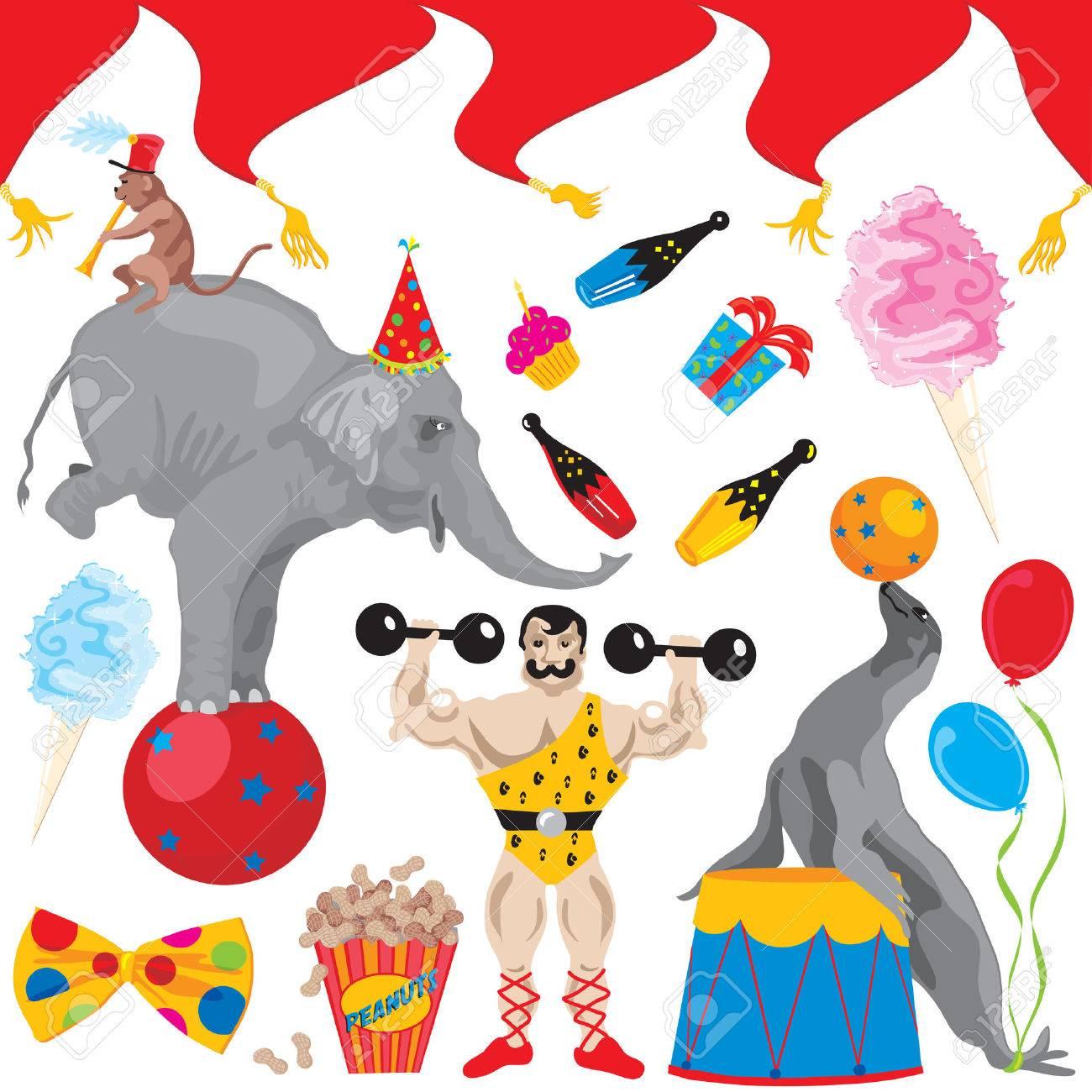 Circus Verjaardag Partij Clip Art Elementen Geisoleerd Op Wit