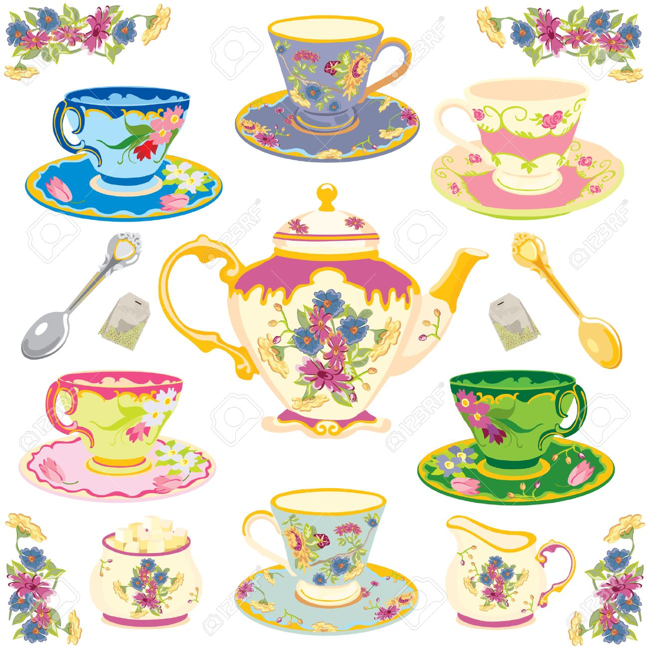 Selection of fancy teacups , isolated on white Stock Vector - 6357400