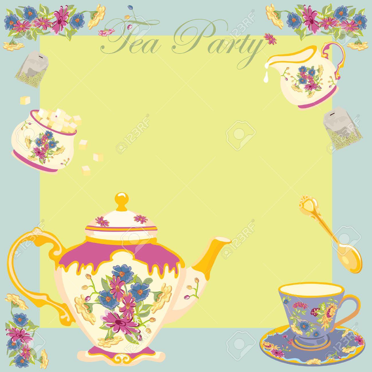Elegant tea party invitation template with teacups cartoon vector - Tea Party Tea Party Or Garden Party Invitation Illustration