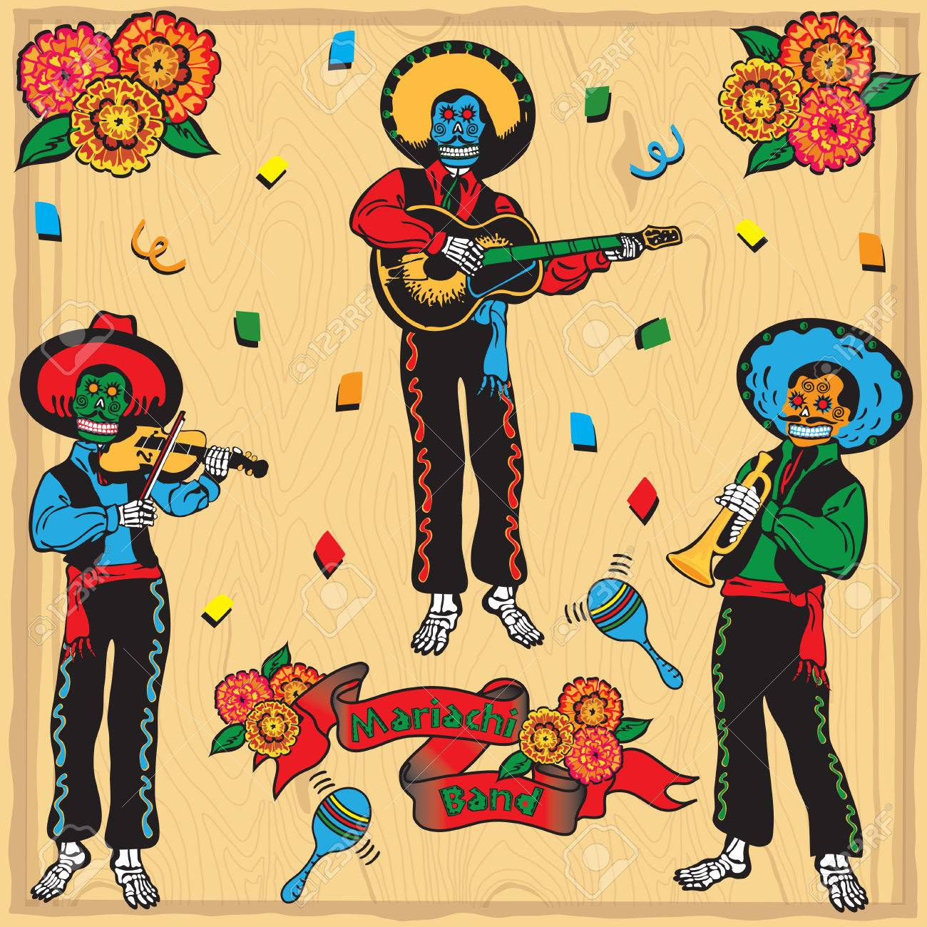 Colorful Day of the Dead Mariachi Band with banner and flowers on a faded wood background Stock Vector - 6609204