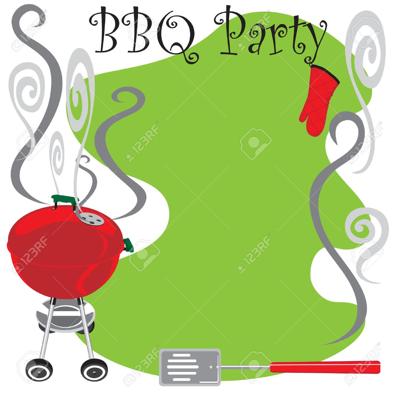 Cookout border clipart hot dog cookout invite stock vector art - Backyard Party Cute Bbq Party Invitation With Smoking Hot Grill