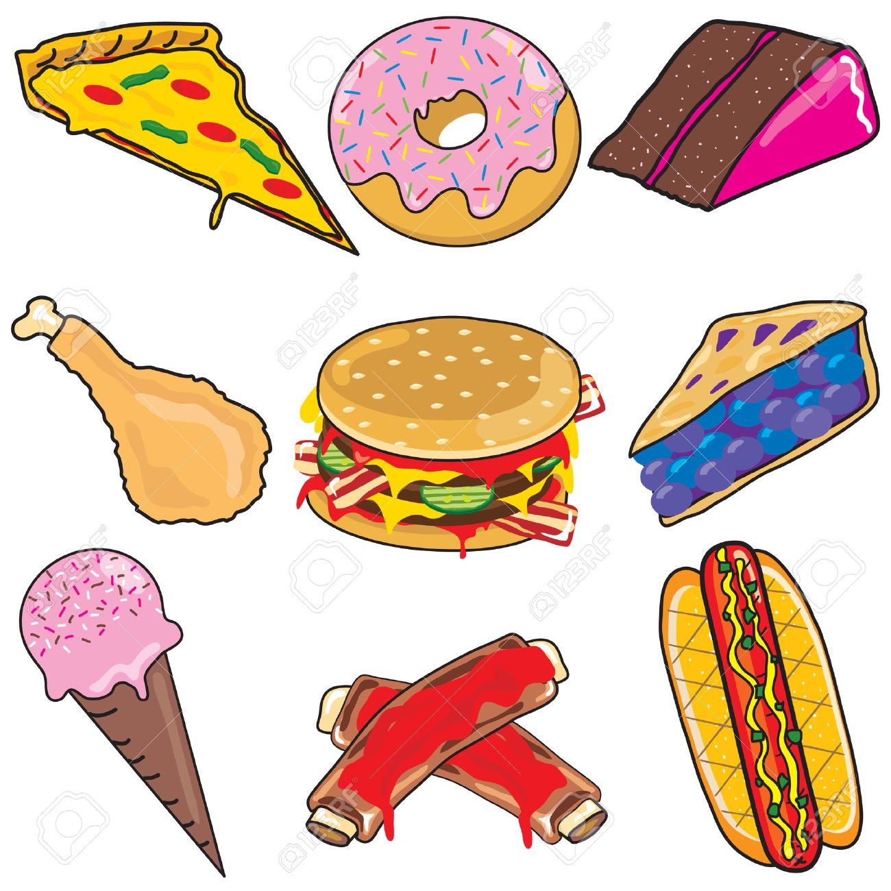 junk food clipart elements and icons royalty free cliparts vectors rh 123rf com junk food clipart no junk food clipart
