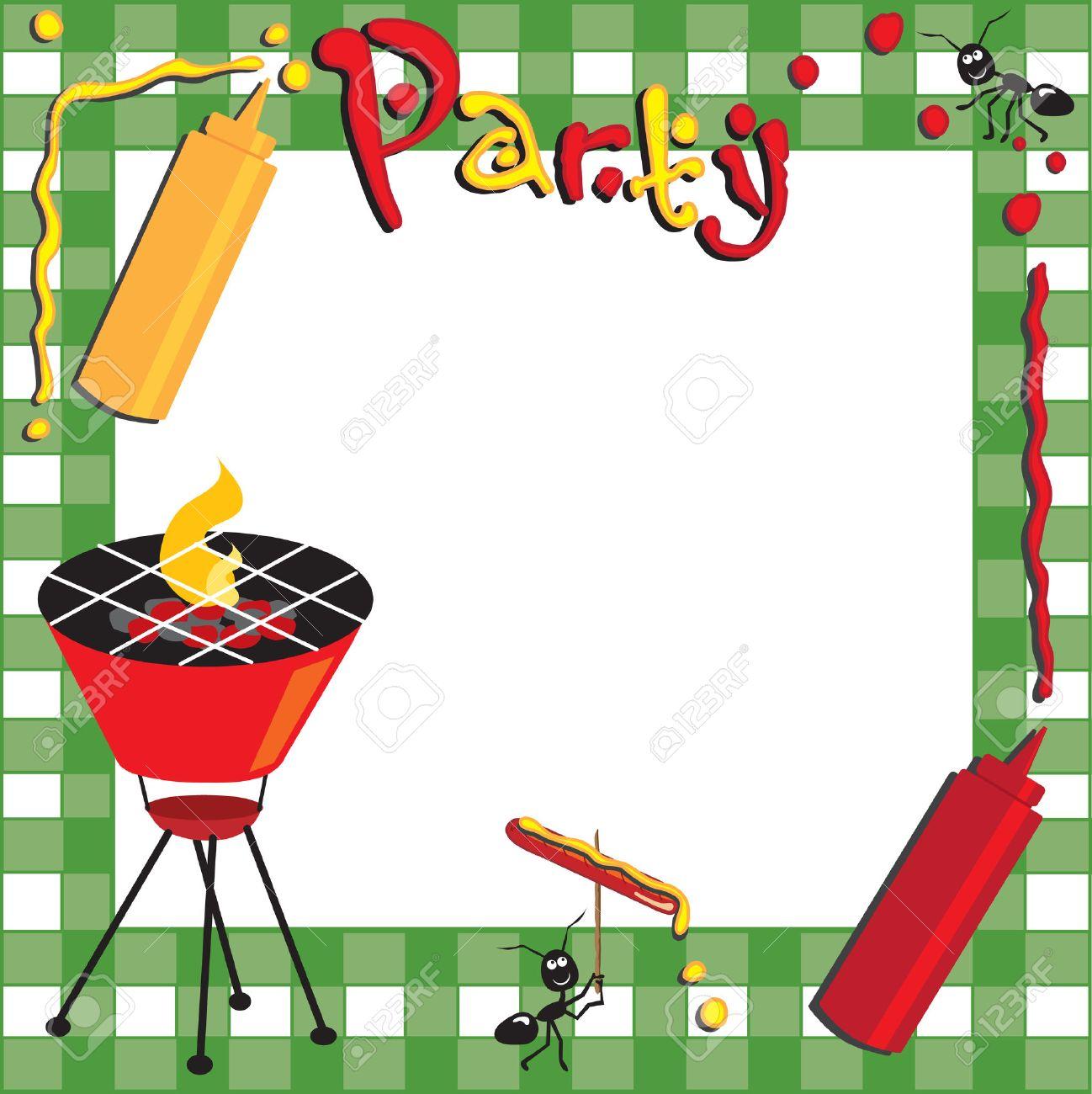 picknick und grill-einladung lizenzfrei nutzbare vektorgrafiken, Einladung