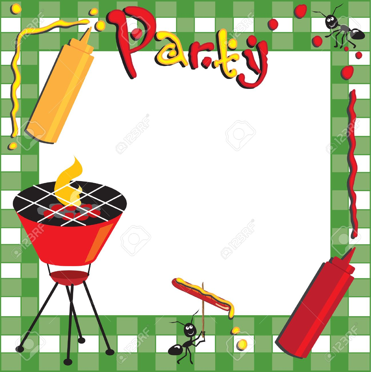 Cookout border clipart hot dog cookout invite stock vector art - Picnic And Bbq Invitation Stock Vector 6919447