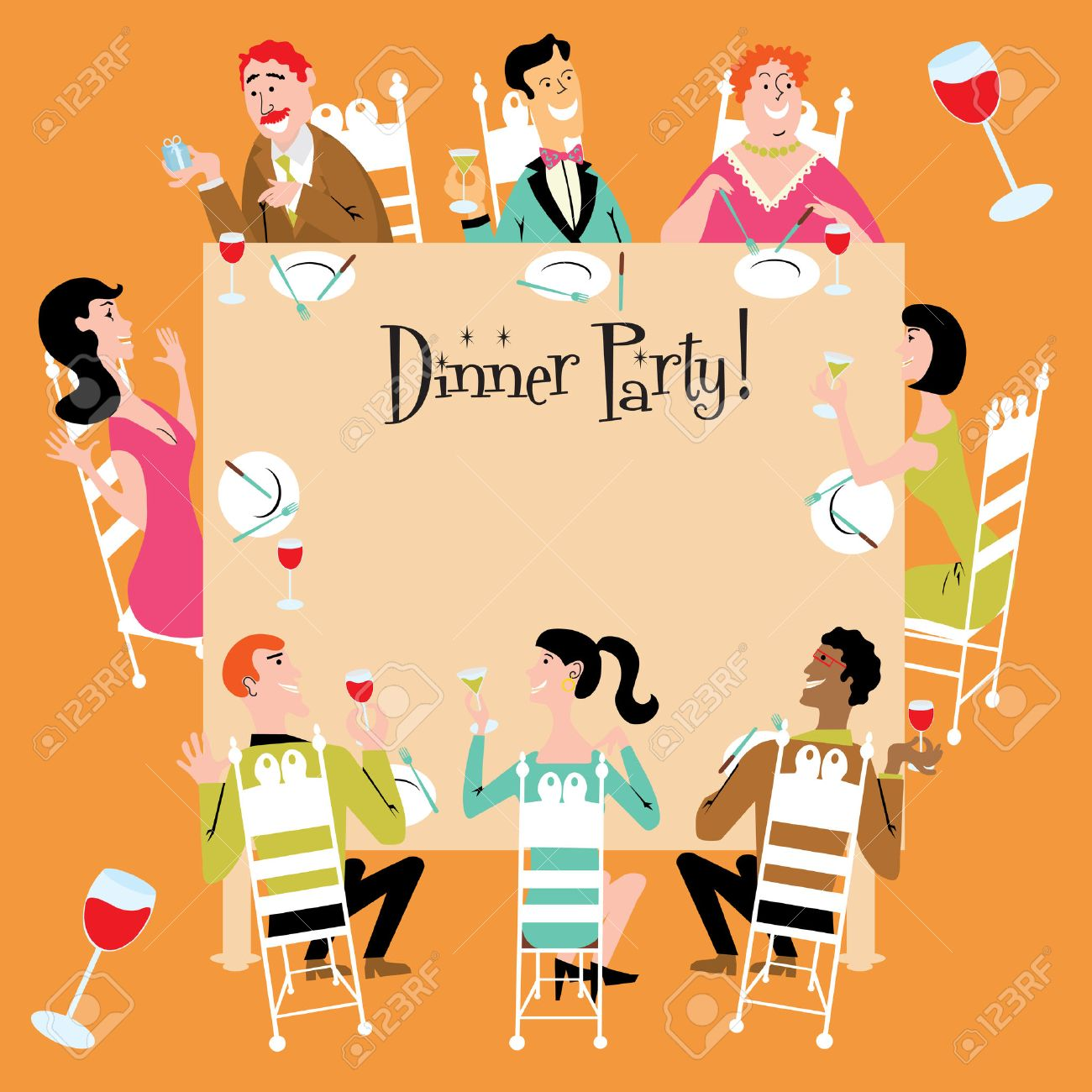 Dinner Party Invitation Royalty Free Cliparts, Vectors, And Stock ...