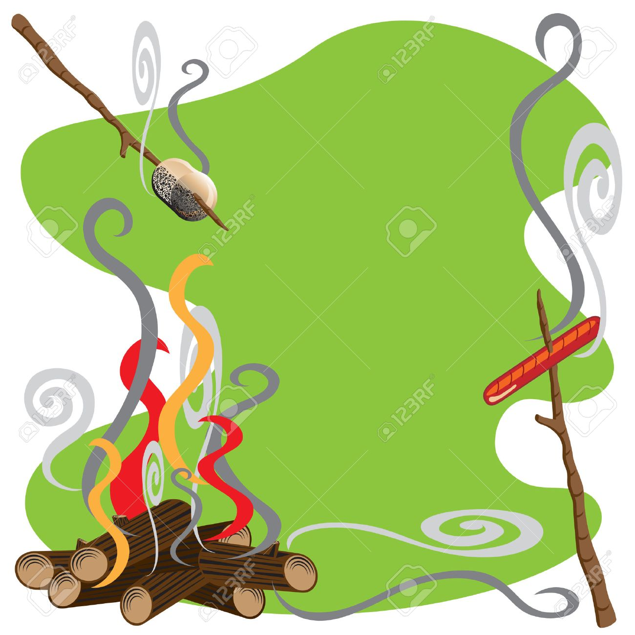 Roasting Marshmallows And Hotdogs Over A Campfire Stock Vector