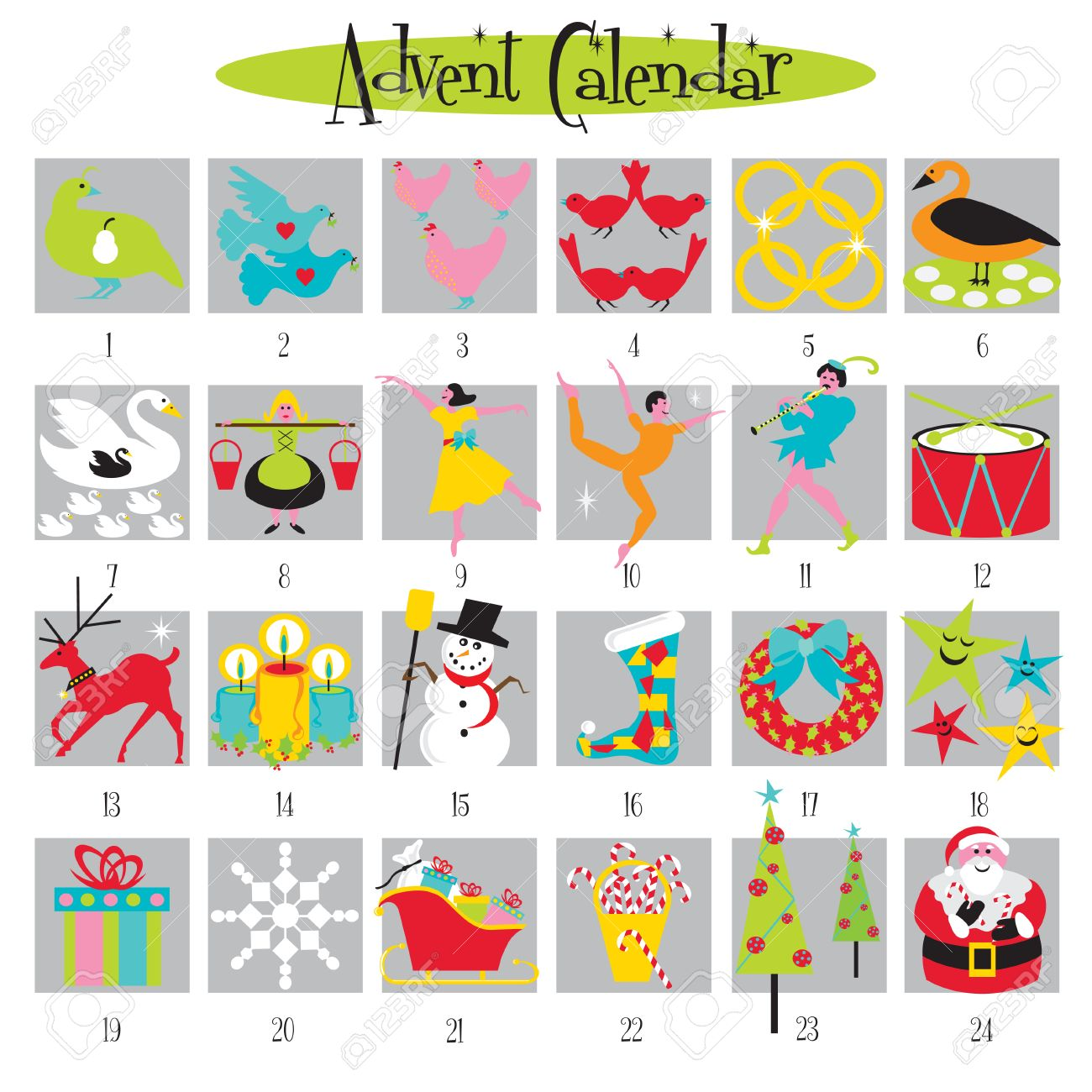 Fun Advent Calendar with cute Christmas images Stock Vector - 8011588