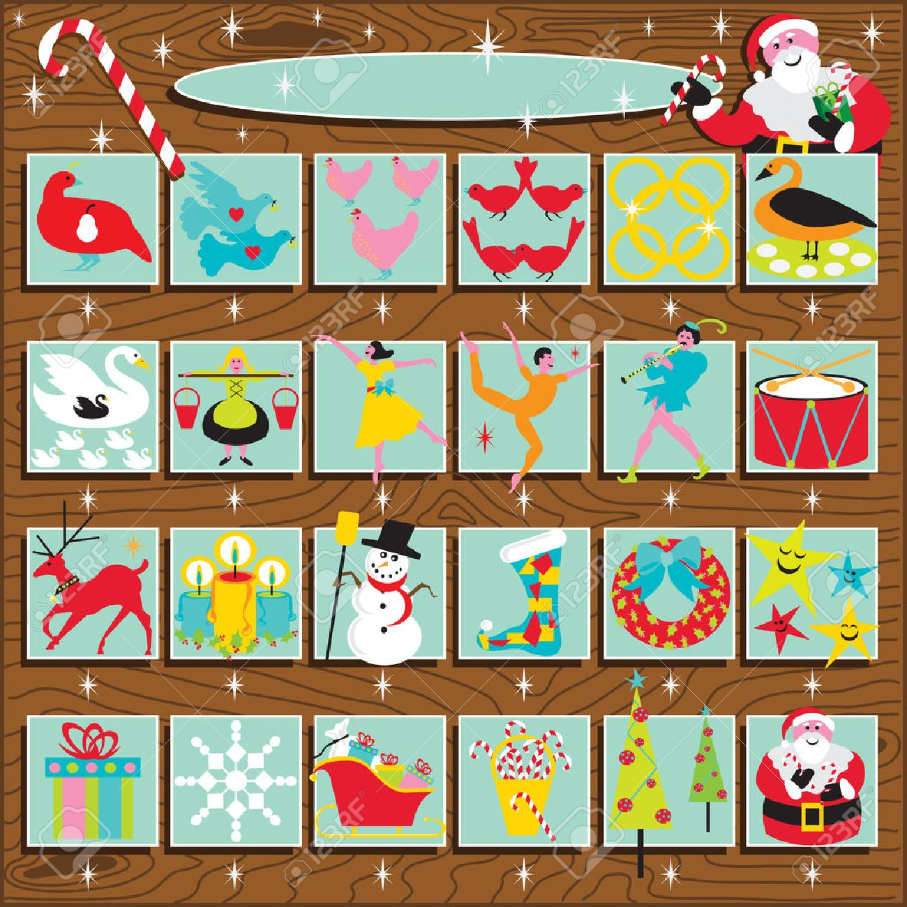 Santa's Retro Advent Calendar On A Woodgrain Background. Includes ...