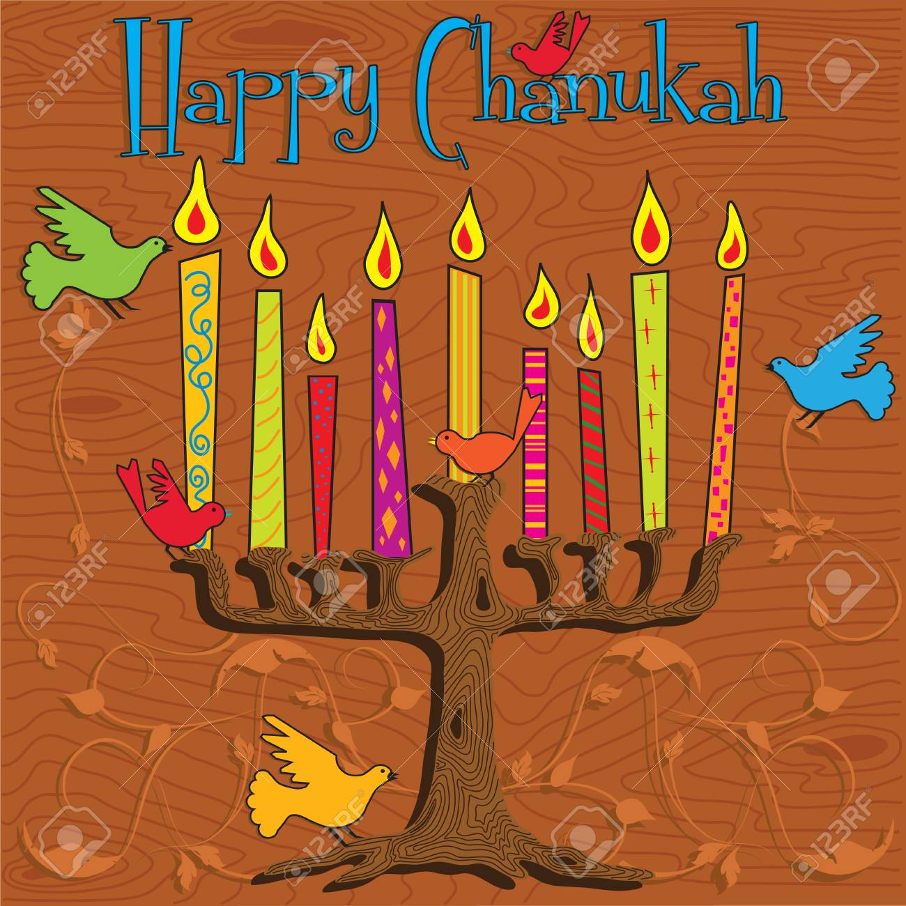 Tree inspired Menorah with bright candles and colorful birds Stock Vector - 8245782