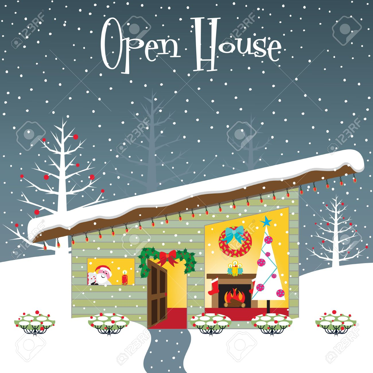 christmas open house party invitation with room for your copy stock vector 8245787 - House Party Invitation