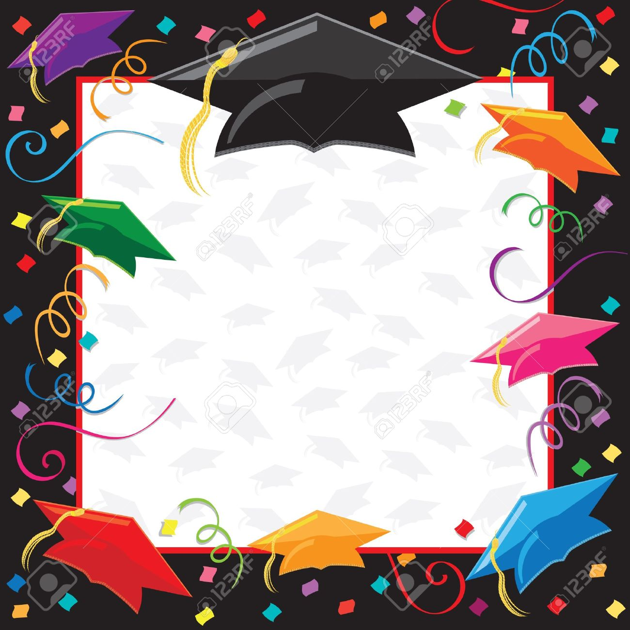Colorful Graduation Invitation With Copy Space Stock Photo, Picture ...