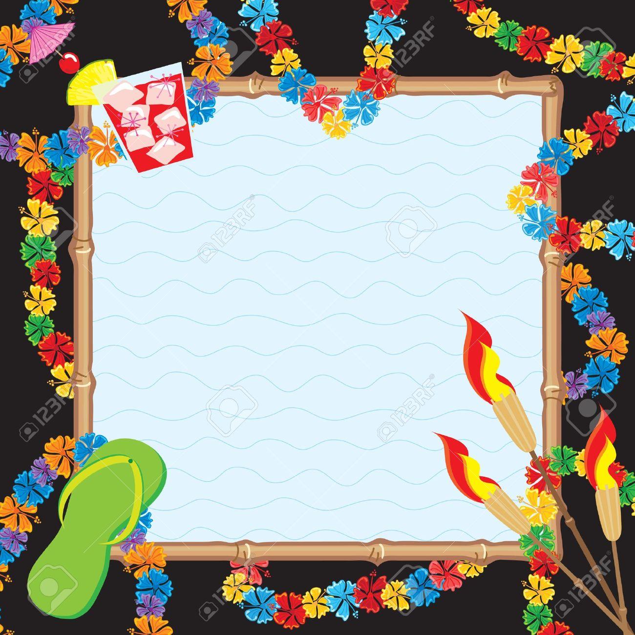 hawaiian pool party invitation royalty cliparts vectors and hawaiian pool party invitation stock vector 9399523