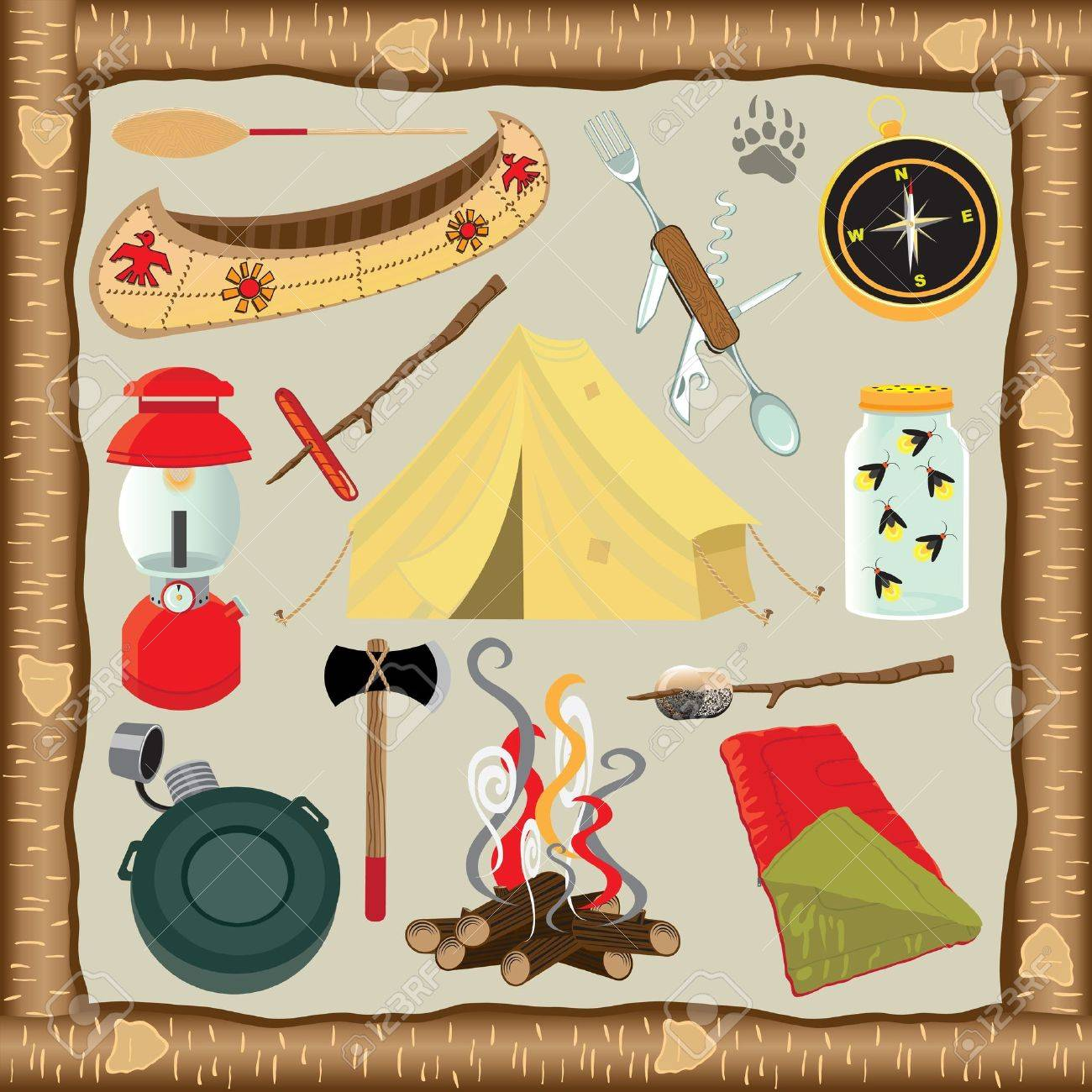 Cute Selection Of Camping Icons With Rustic Bark Wood Frame ...