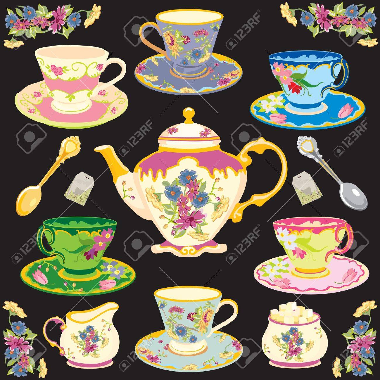 Fancy Victorian style tea set Stock Vector - 10257486
