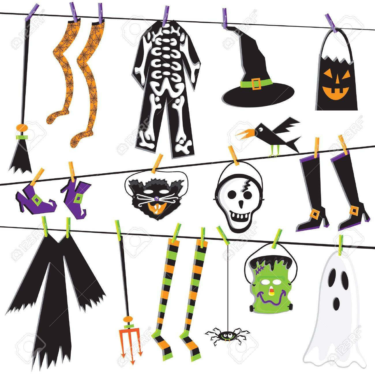 Halloween Costume Clothesline Clip Art Royalty Free Cliparts ...
