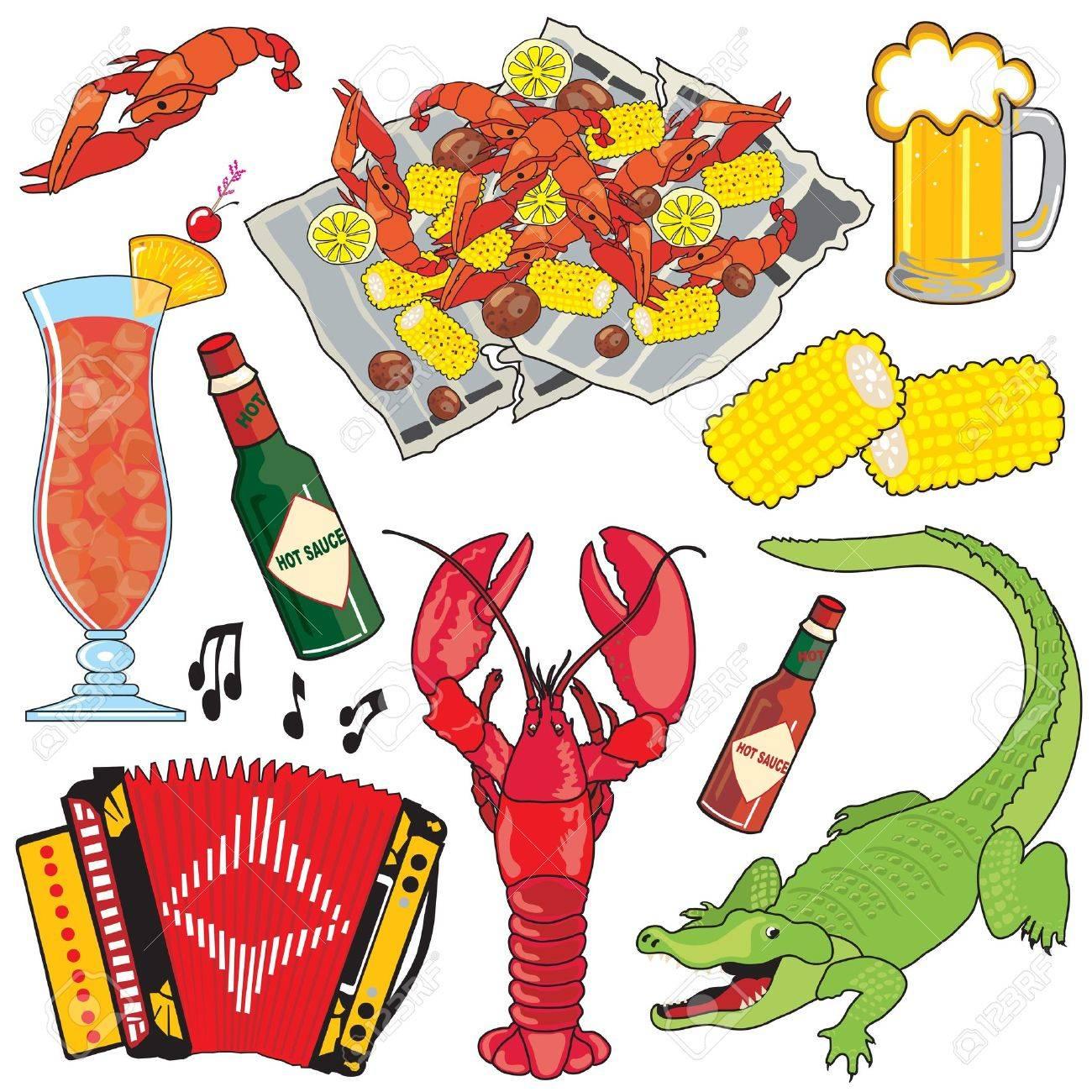 Cajun の食糧音楽および飲み物のクリップアート アイコンおよび要素の