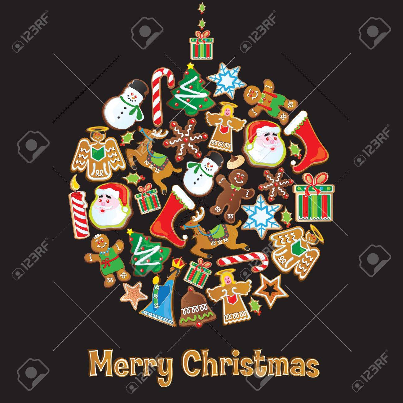 Cookie Christmas Ornament isolated on Black Stock Vector - 11195444