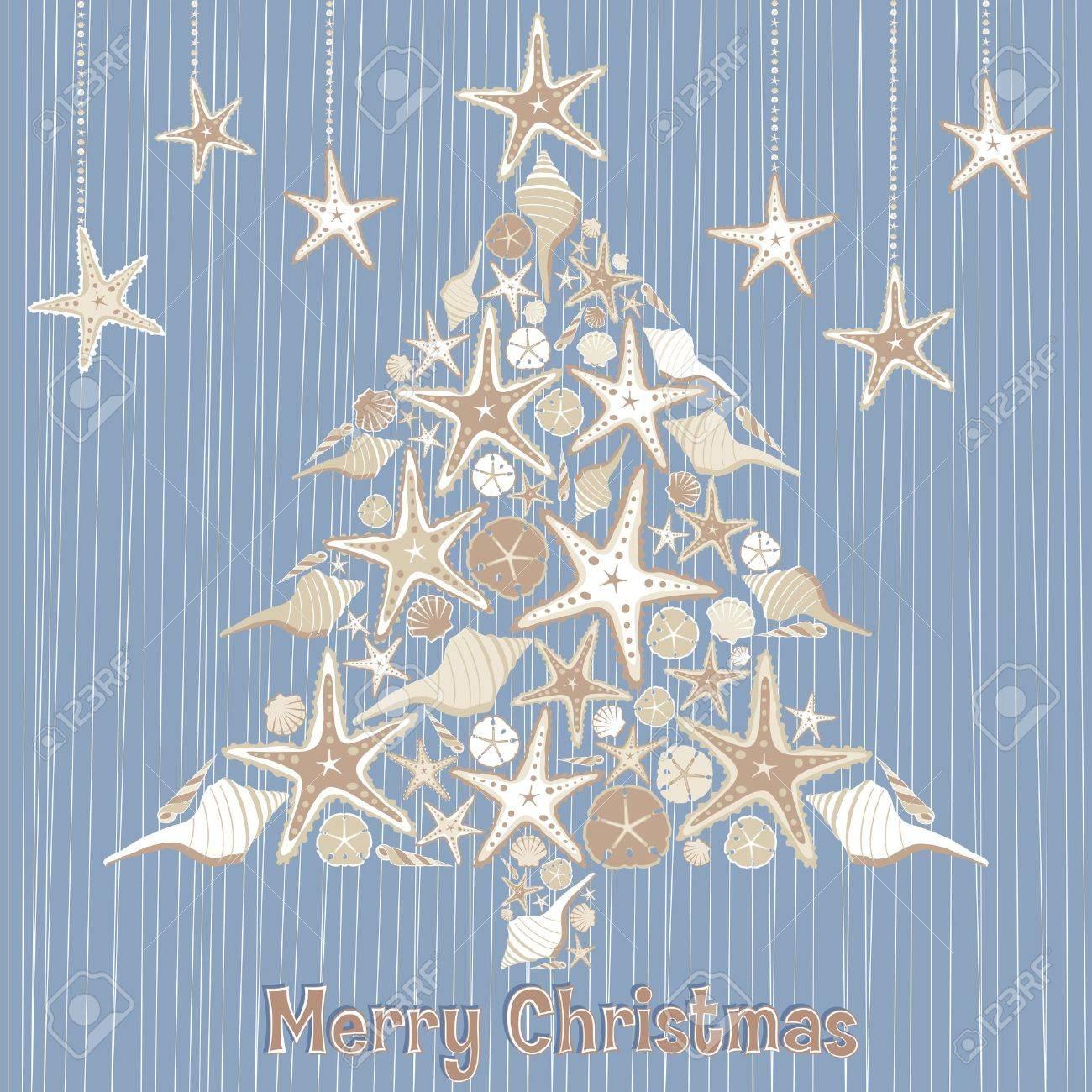 Tropical Seashell Christmas Tree Card Royalty Free Cliparts ...
