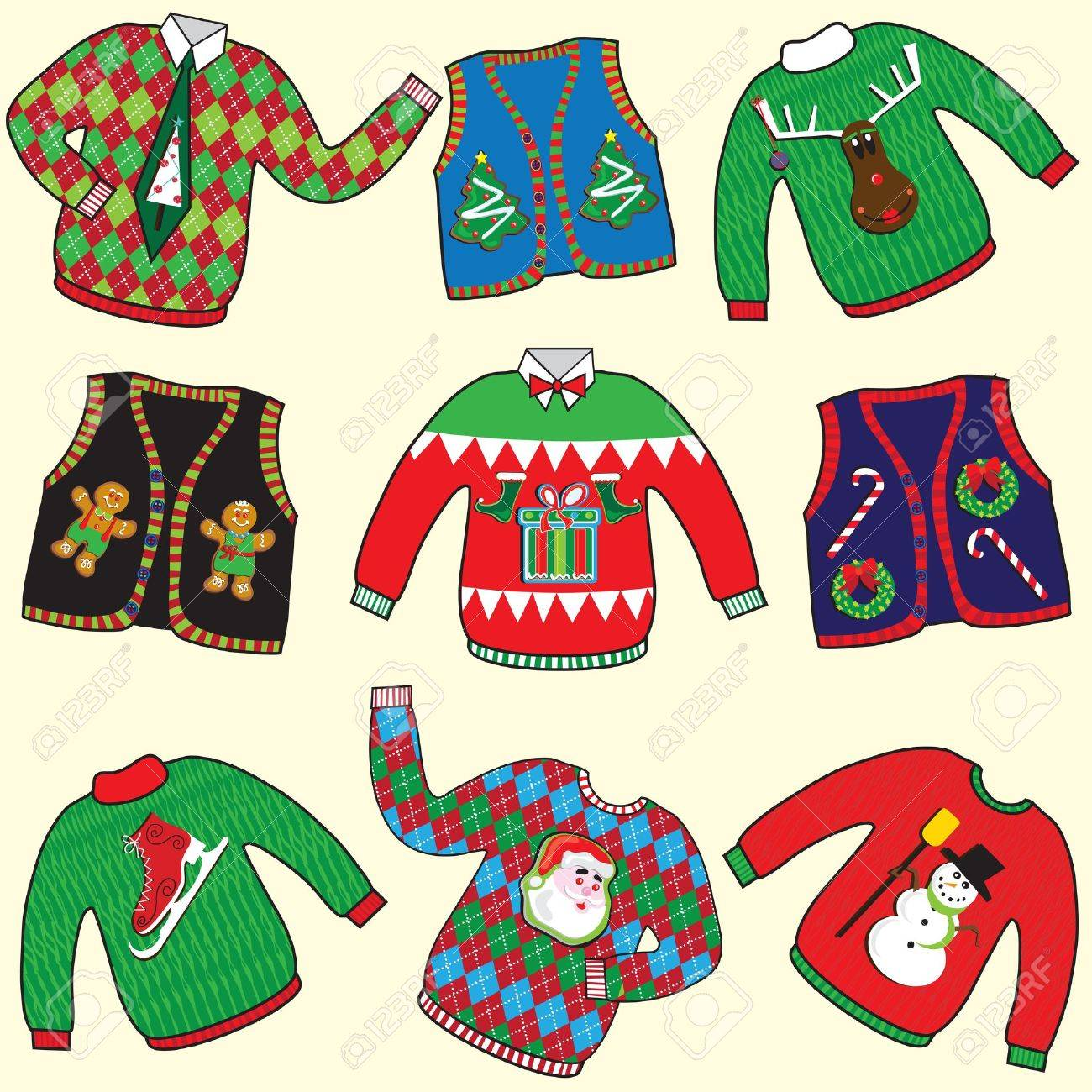 240c12ebef UGLY Christmas Sweaters Party Invitation Royalty Free Cliparts ...
