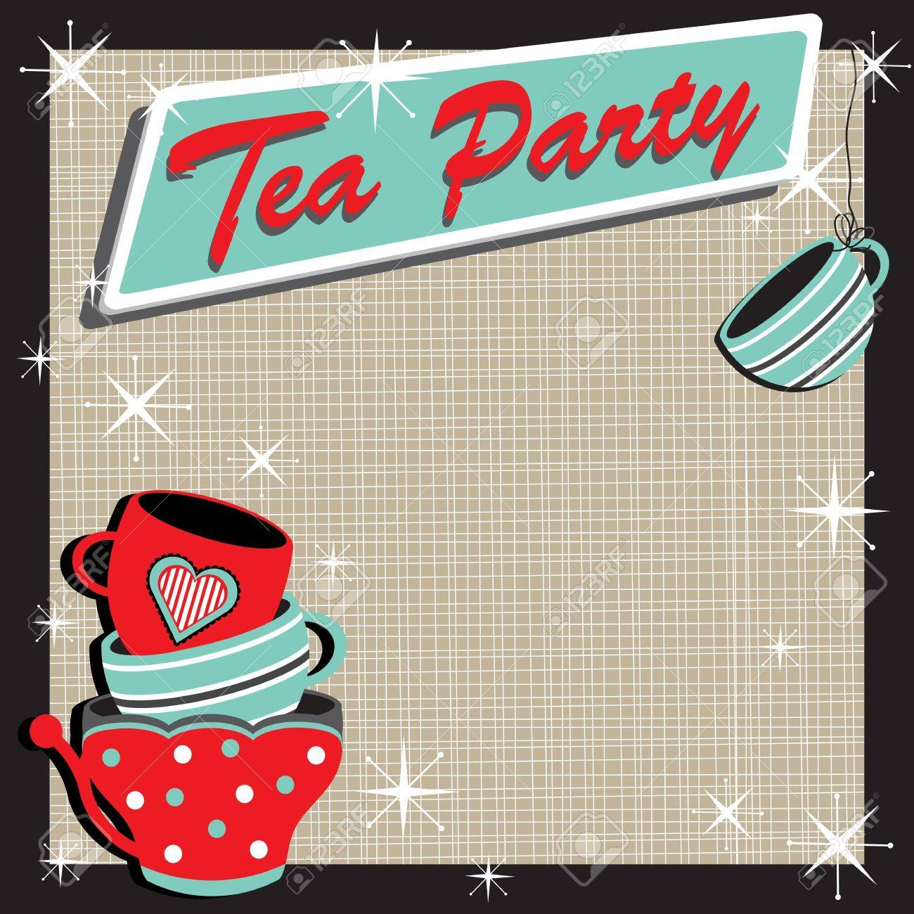 Elegant tea party invitation template with teacups cartoon vector - Tea Party Stacked Tea Cups Tea Party Invitation In A Retro Style