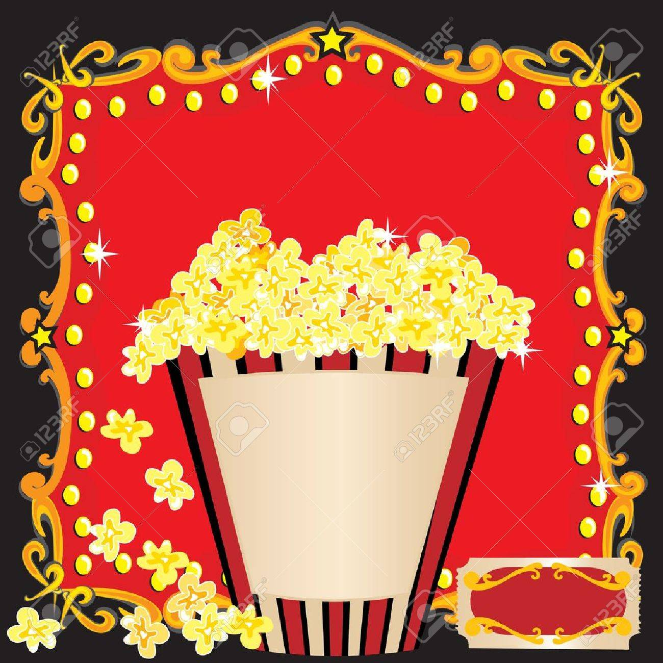 Popcorn And A Movie Birthday Party Invitation Royalty Free Cliparts