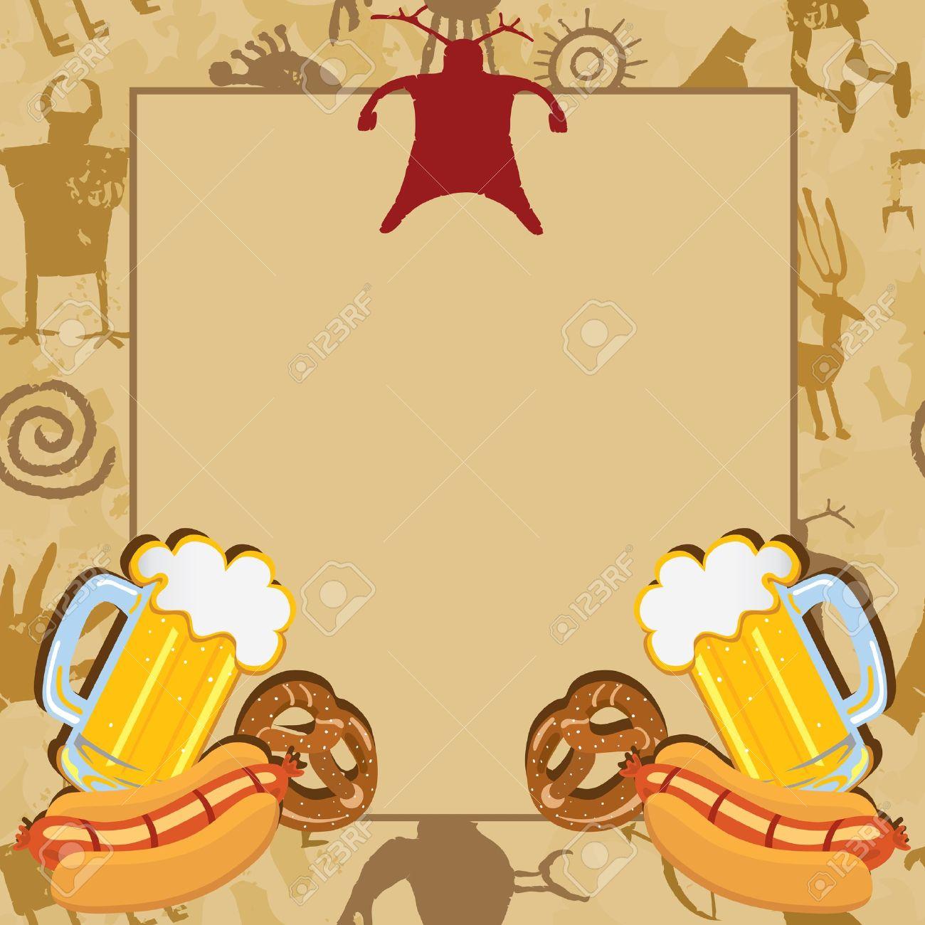 Invitación De La Despedida De Soltero Hombre Cueva Con Pinturas Rupestres De Cerveza Pretzels Y Perritos Calientes