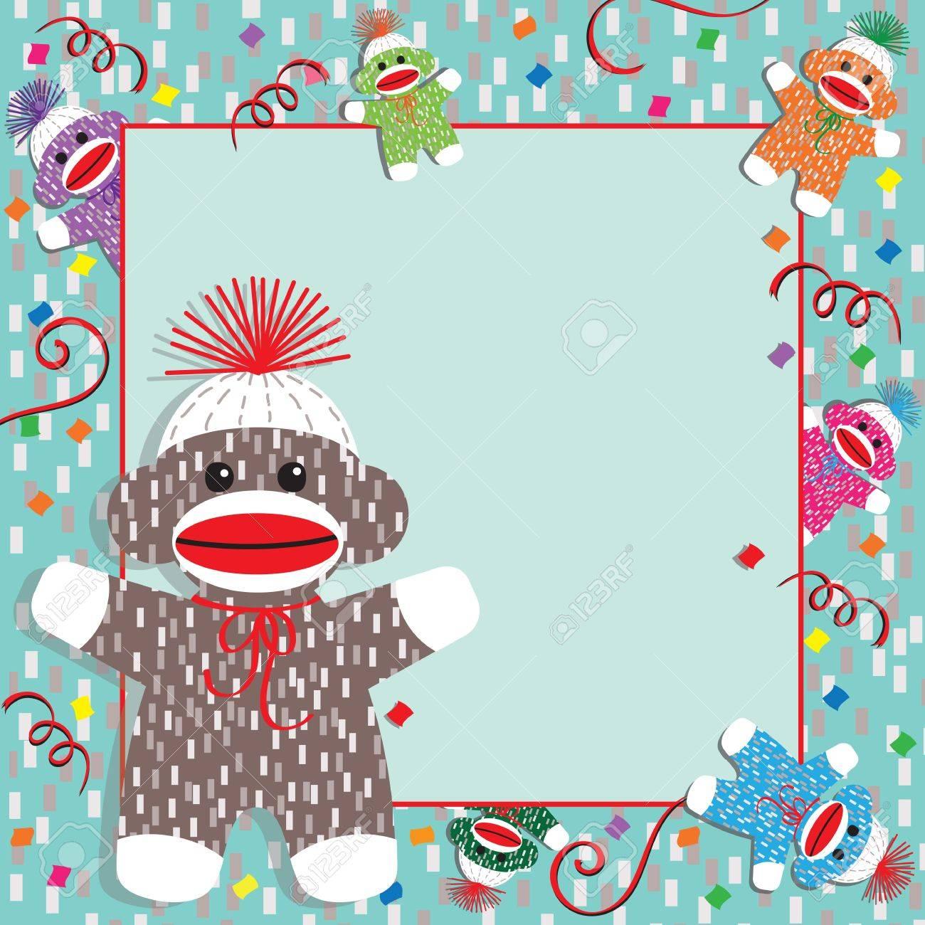 adorable baby socks monkeys gather around this festive baby shower or birthday party invitation plenty