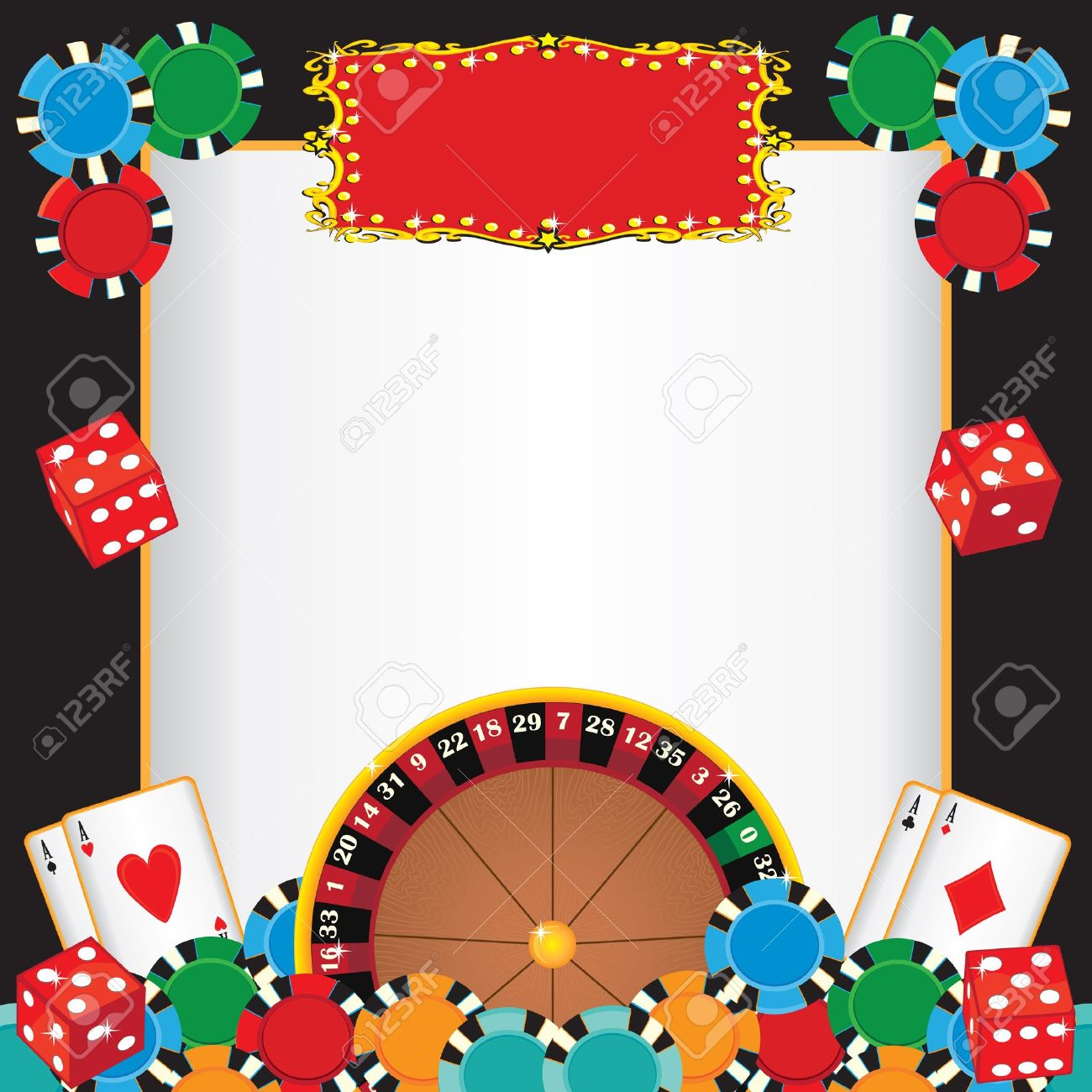 Casino Night Party Event Invitation With Roulette Wheel, Gambling ...