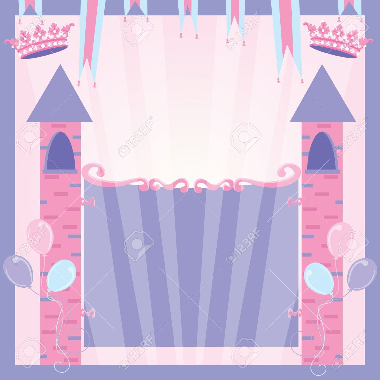 Princess Birthday Party Invitation Castle Stock Vector