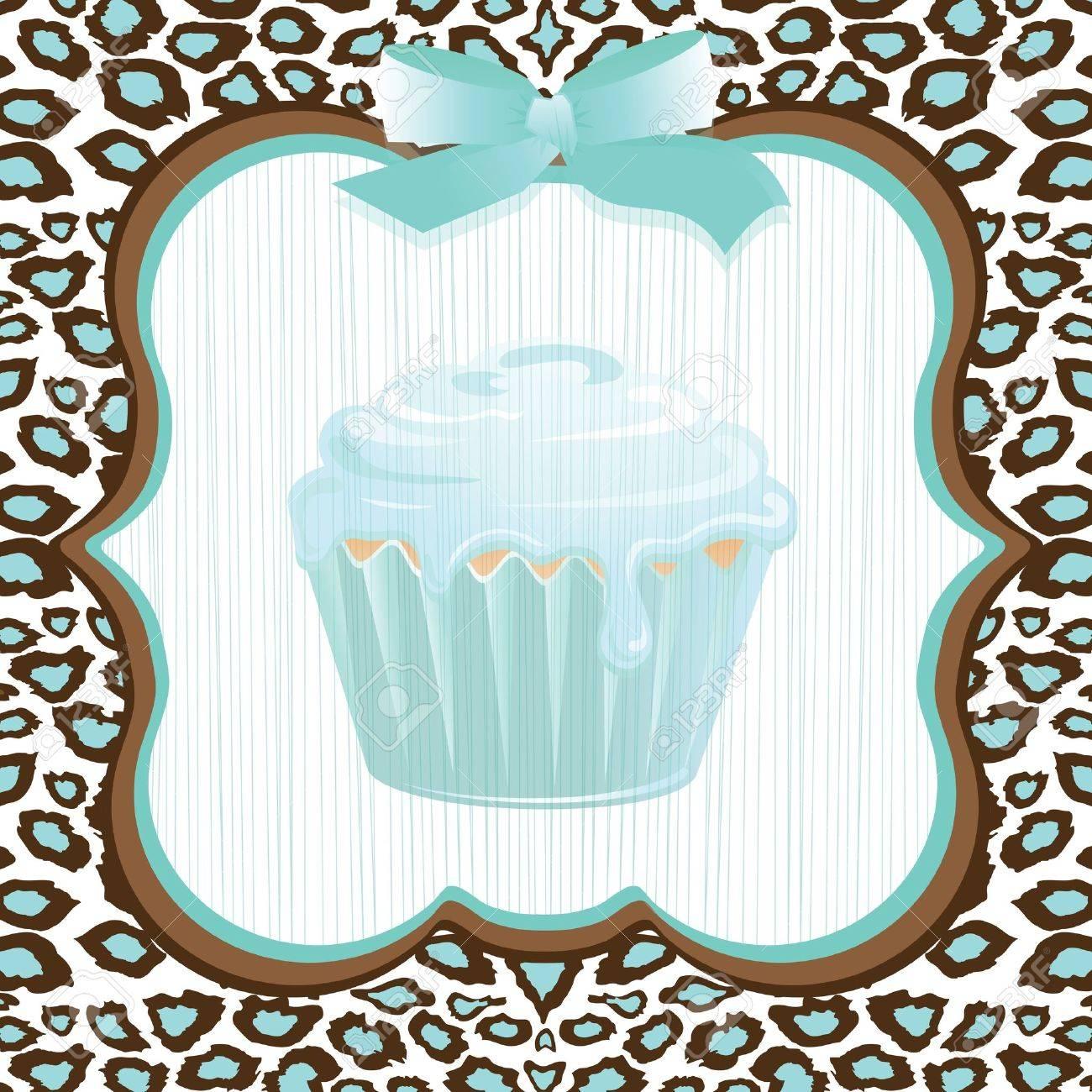 Aqua Leopard Print Cupcake Birthday Party Invitation Royalty Free ...
