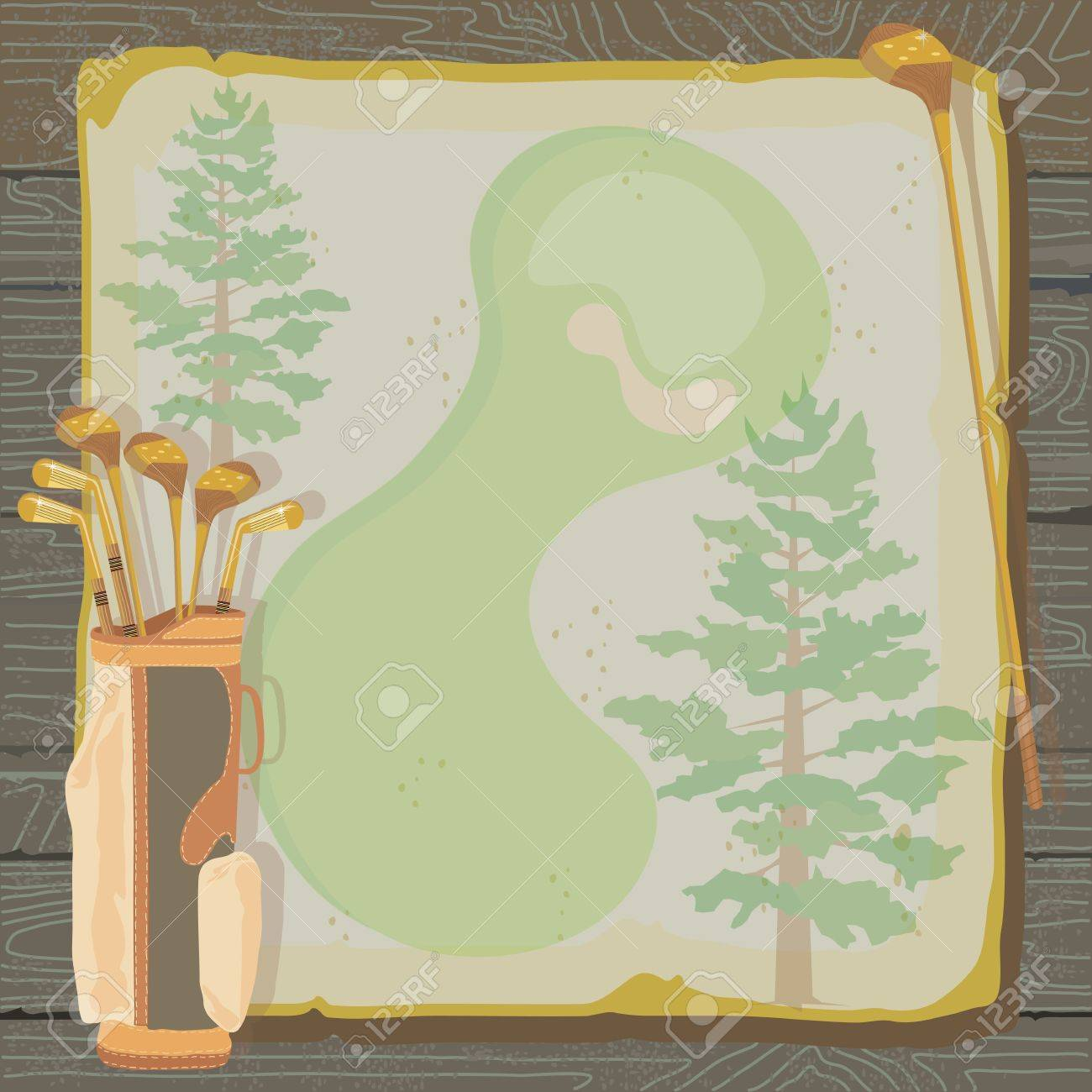 Rustic golf party or tournament invitation with a vintage aged feel  Golf bags with golf clubs on grungy vintage paper with faded pine trees, set against a wood background Stock Vector - 12829146