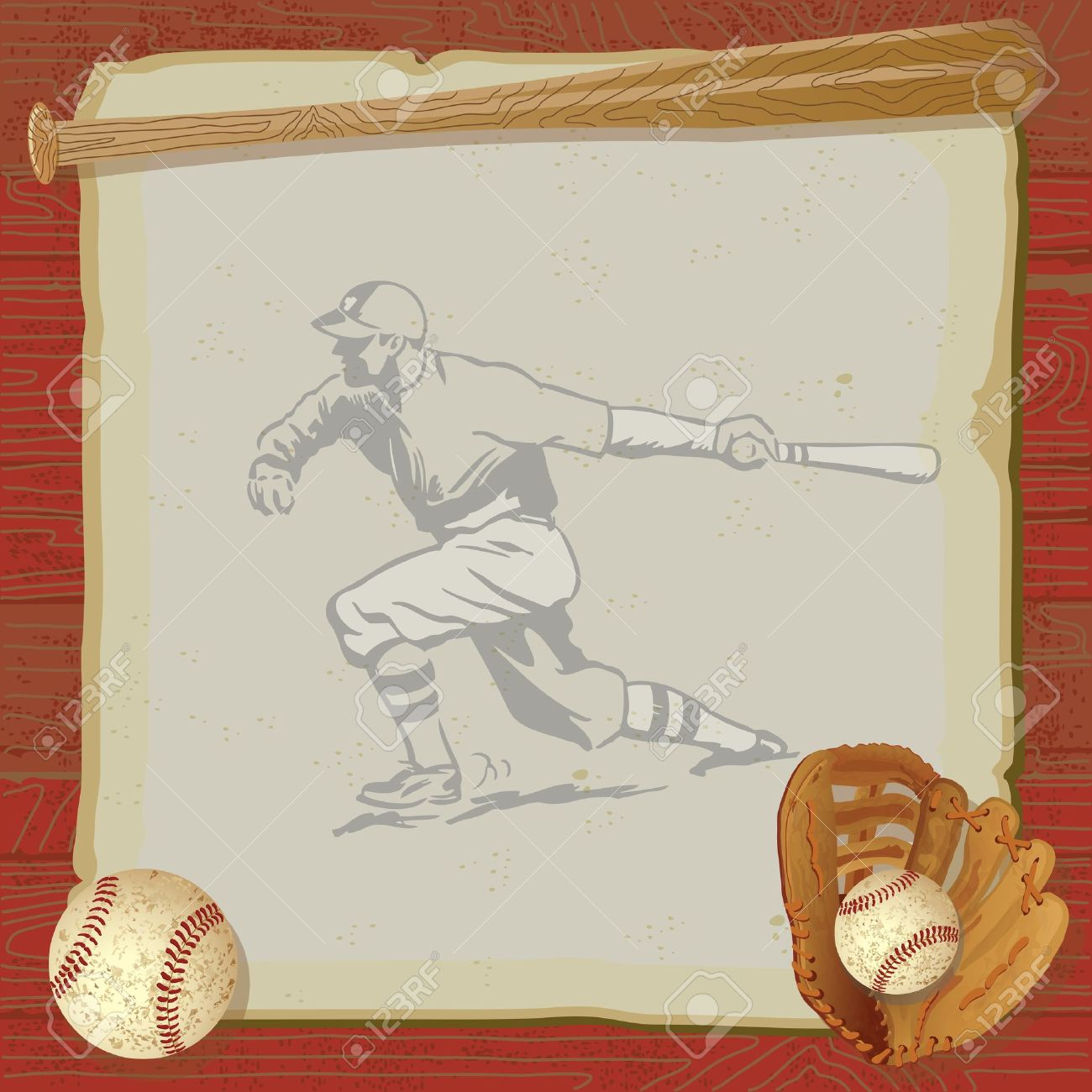 Rustic Vintage Baseball Party With Old Fashioned Glove And Bat On Top Of