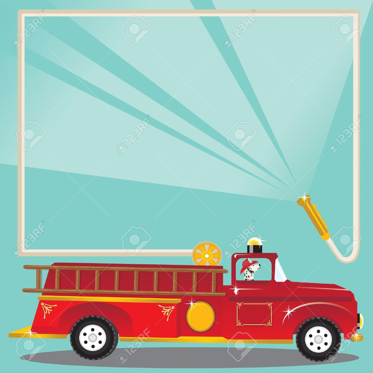 Firetruck Birthday Party Invitation. Super Cute Firetruck With ...