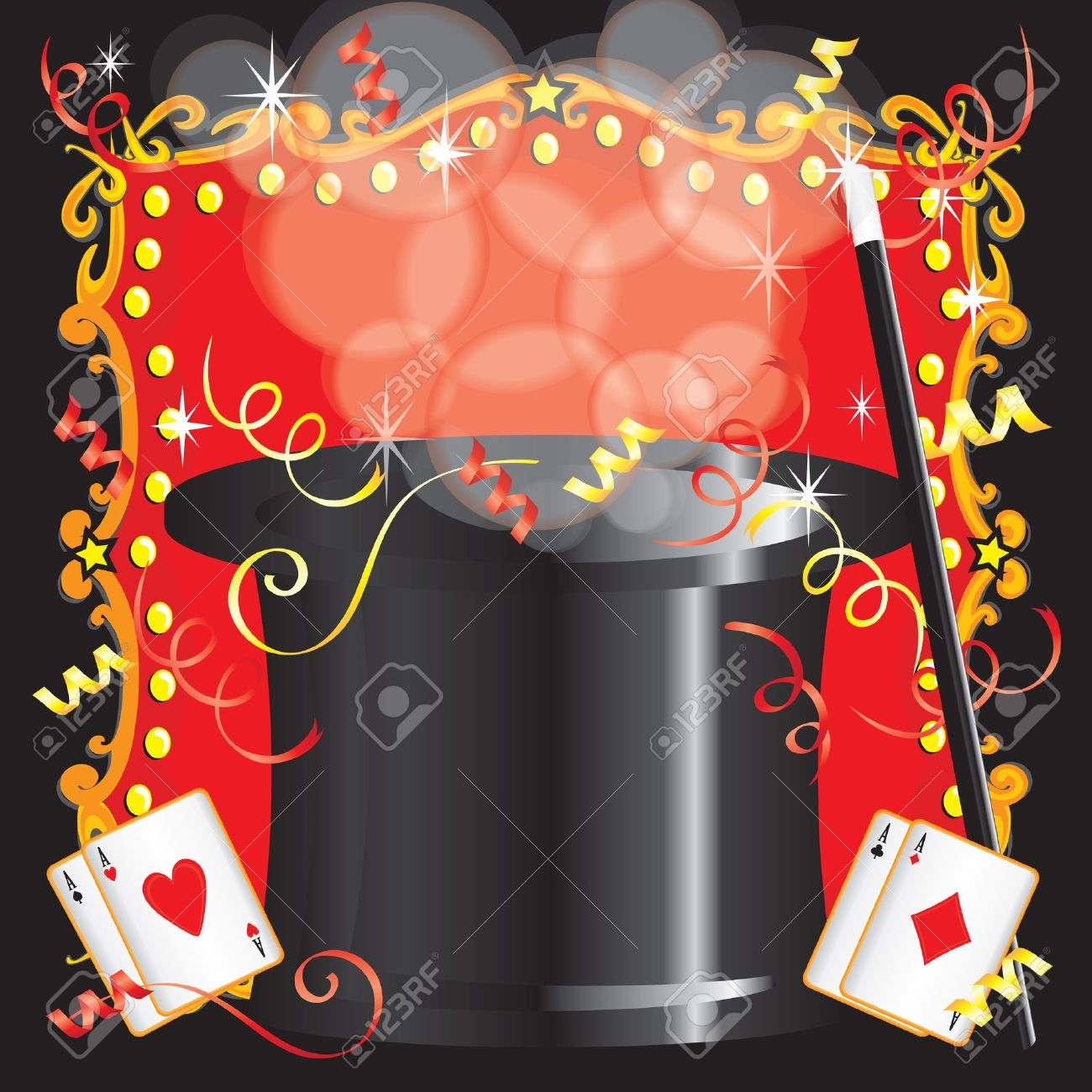 Magician s magic act birthday party invitation with magic wand, cards and red marquee - 13271237