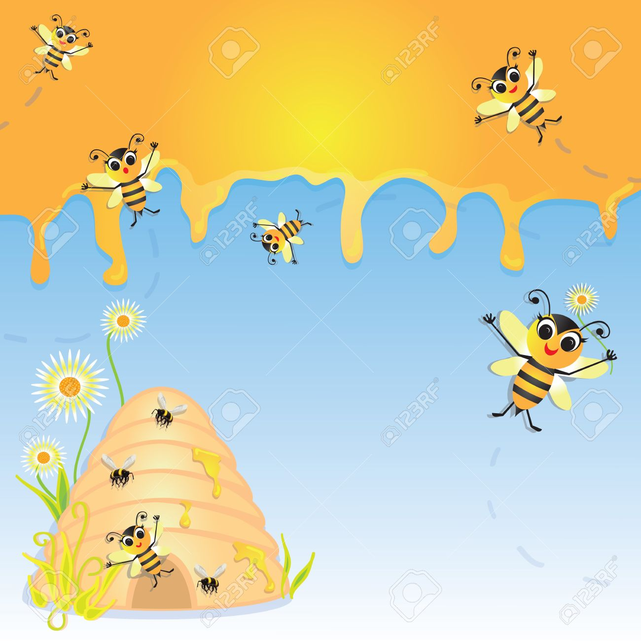Cute Bumble Bee Party Invitation With Dripping Honey Bee Hive – Bumble Bee Party Invitations