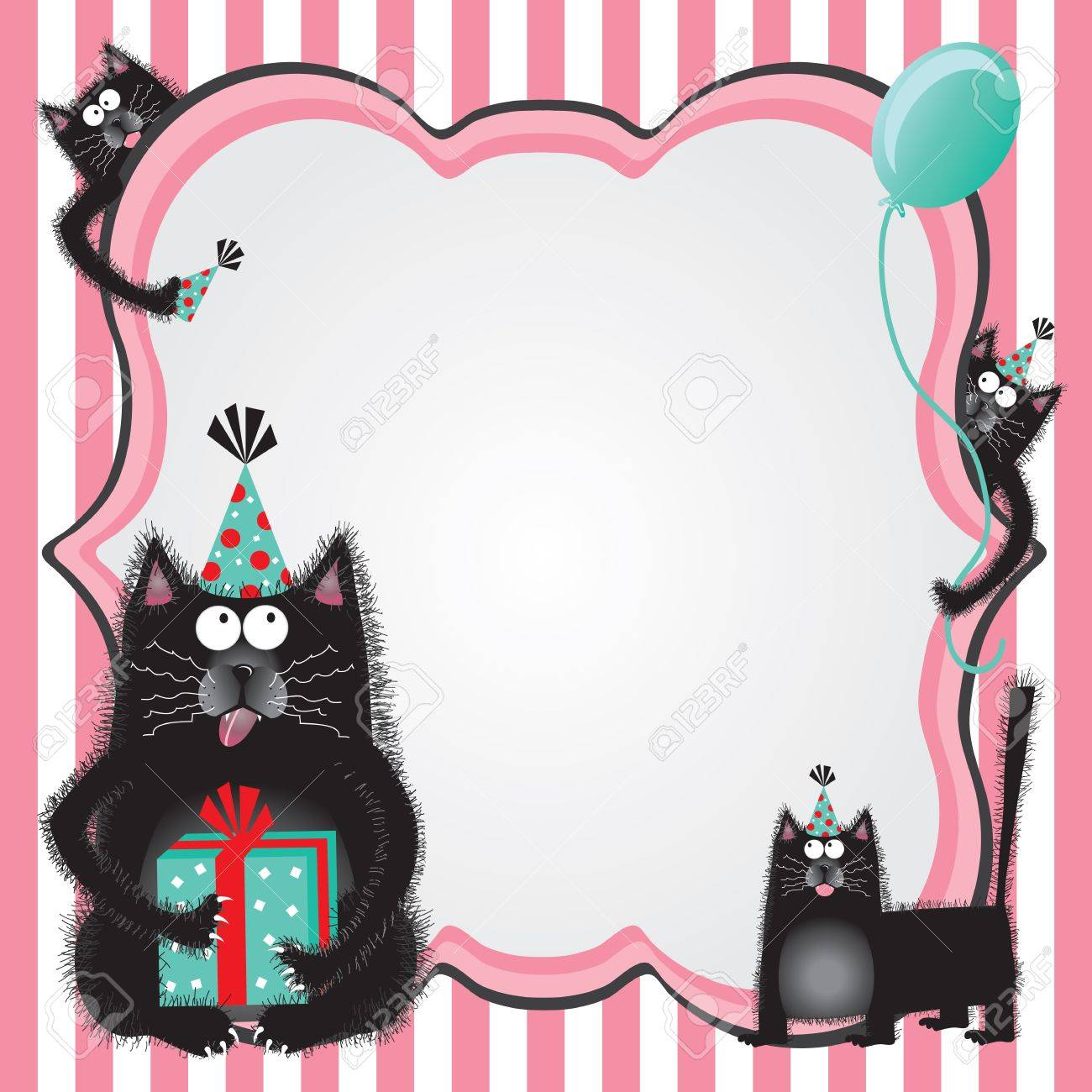 Funky And Fuzzy Kitty Cats Wearing Party Hats Holding Gifts Welcome You To A Birthday