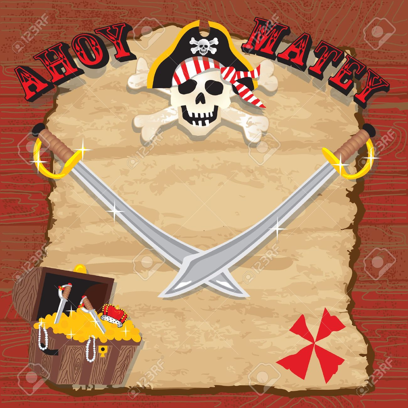 Pirate Party Invitation. Rustic Red Plank Background With Old ...