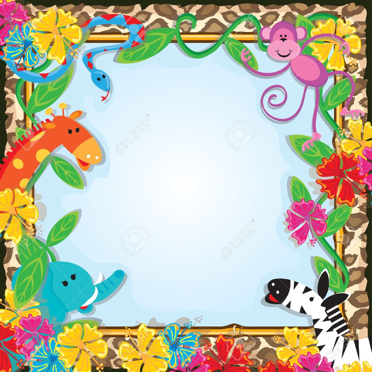 Jungle zoo party invitation bright and colorful jungle animals jungle zoo party invitation bright and colorful jungle animals welcome you to a party stock vector stopboris Choice Image