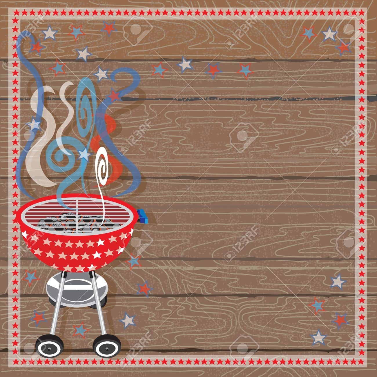 Cookout border clipart hot dog cookout invite stock vector art - Charcoal Grill Rustic Patriotic Bbq Party Invitation