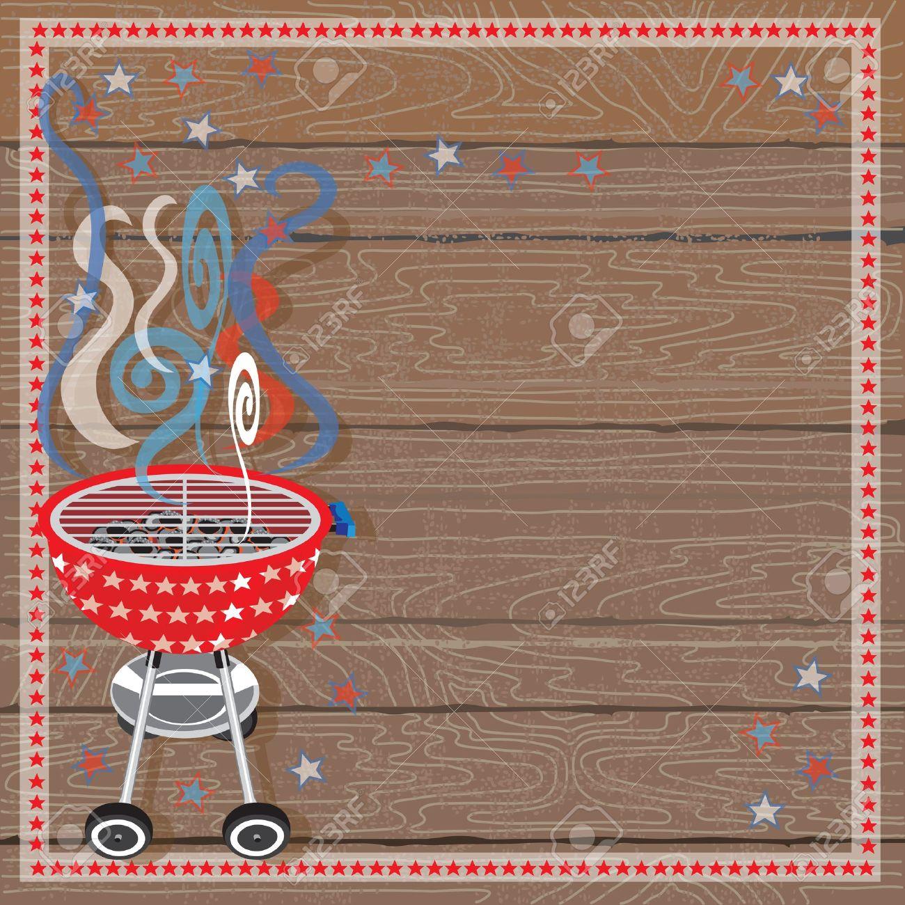 rustikale vaterländischen grill party-einladung lizenzfrei, Einladungen