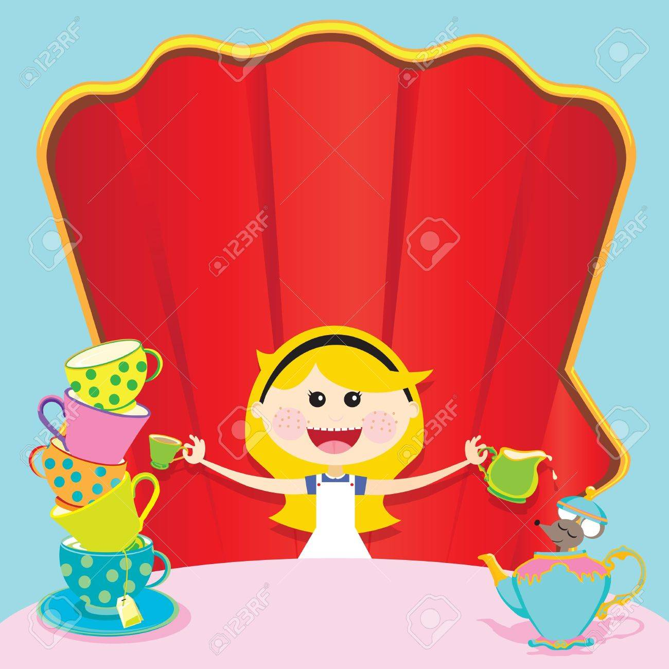 Alice In Wonderland Unbirthday Party Invitation Royalty Free