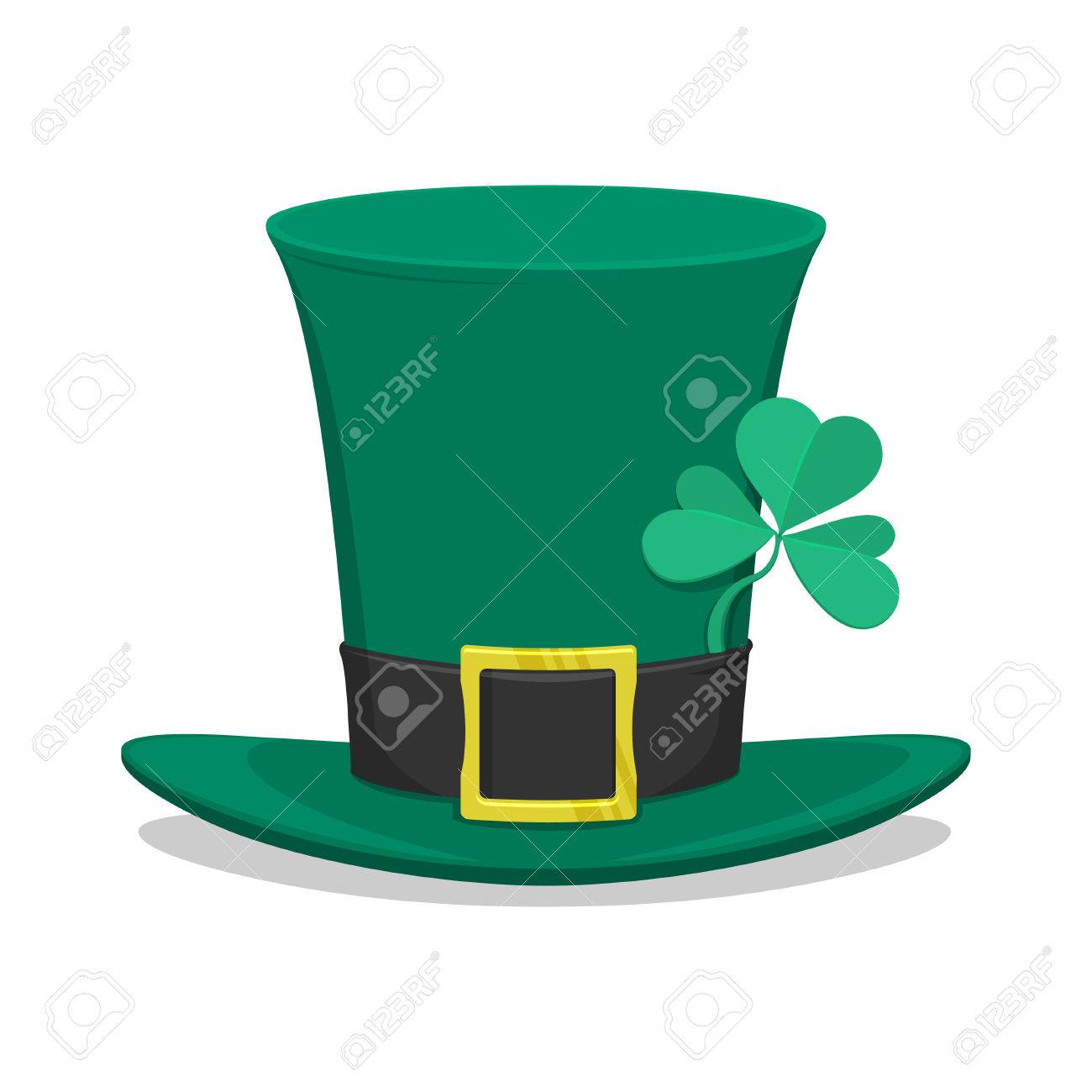 fb6f62c7a29497 Saint Patrick's Day green hat with 3 leaf clover. Isolated white background  Stock Vector -