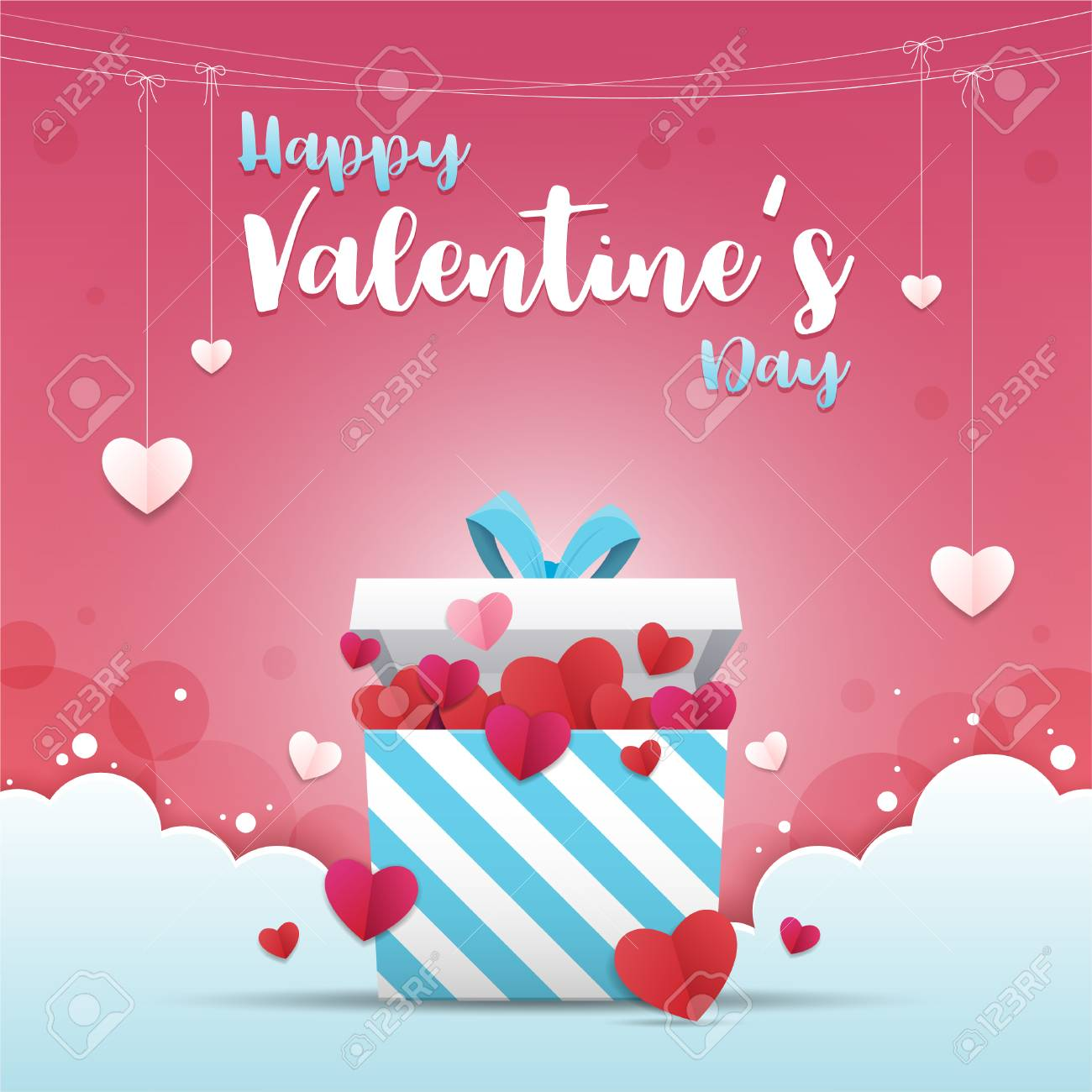 Greeting card of valentines day a gift box with many heart shaped greeting card of valentines day a gift box with many heart shaped paper art m4hsunfo